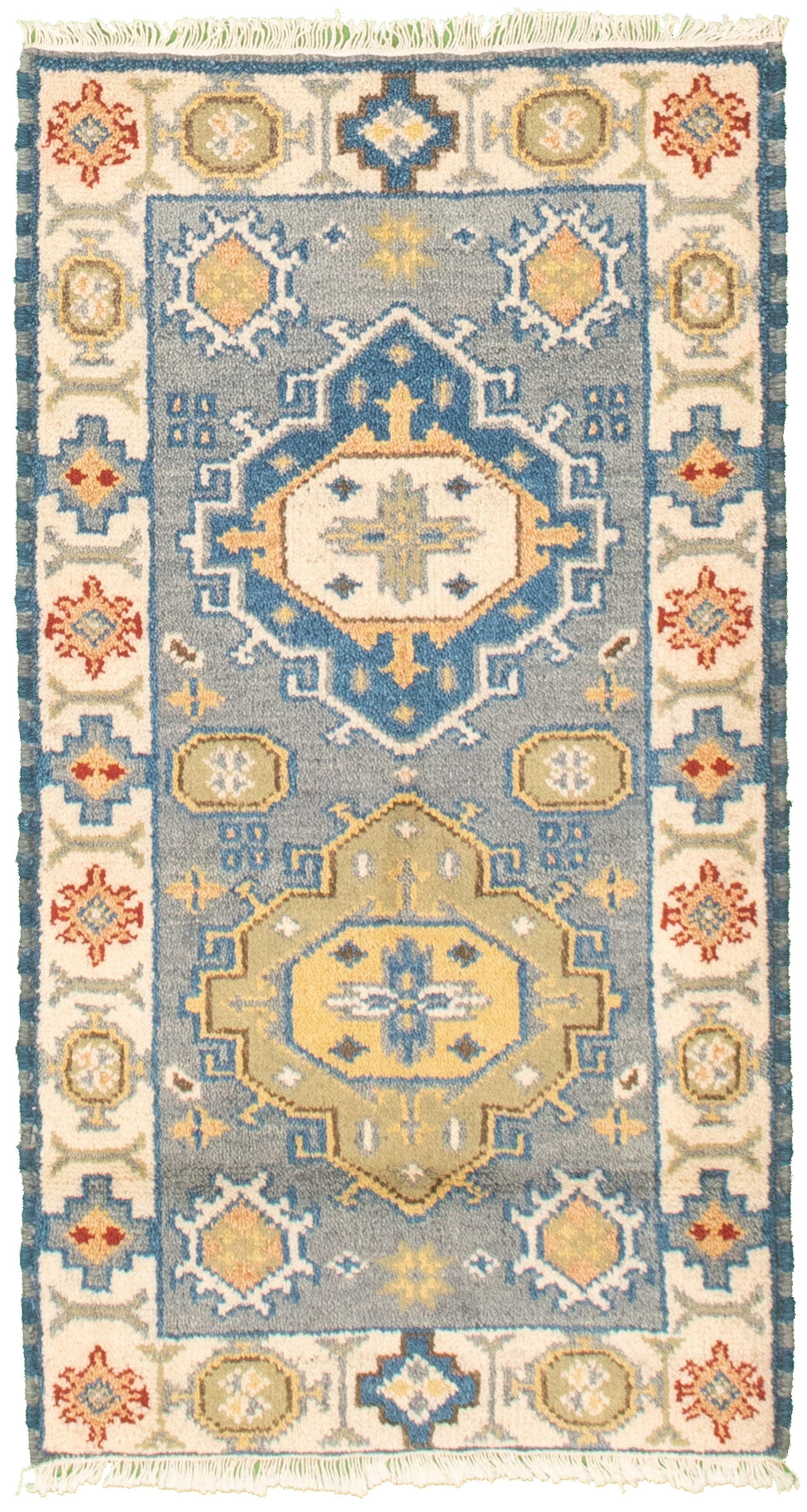 """Hand-knotted Royal Kazak Baby Blue Cotton Rug 2'1"""" x 4'0"""" Size: 2'1"""" x 4'0"""""""