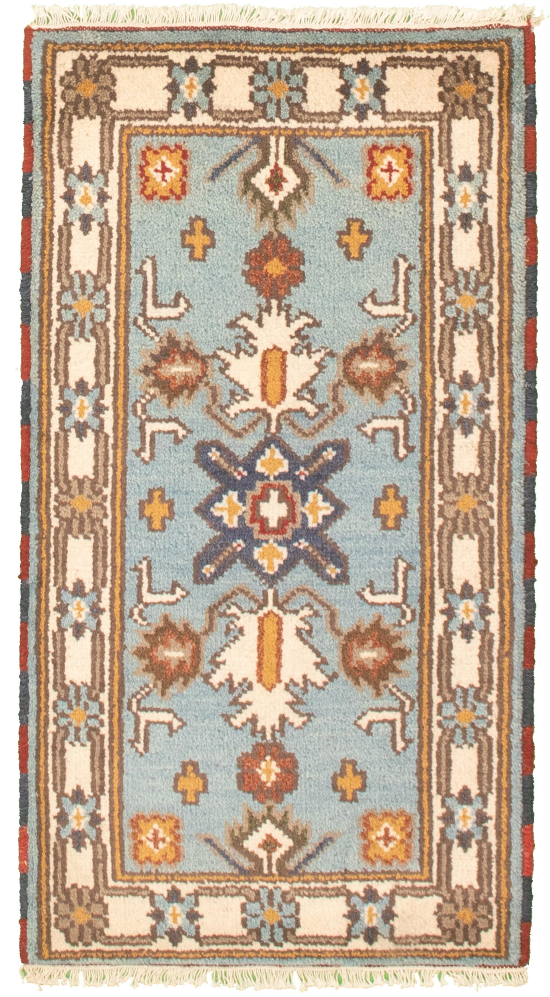 "Hand-knotted Royal Kazak Light Blue  Cotton Rug 2'1"" x 4'0""  Size: 2'1"" x 4'0"""