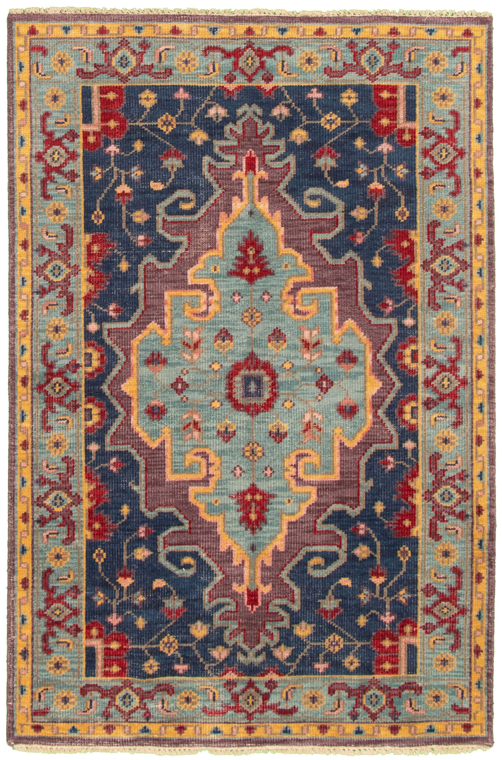 """Hand-knotted Maharajah Dark Blue Wool Rug 4'11"""" x 7'6"""" Size: 4'11"""" x 7'6"""""""