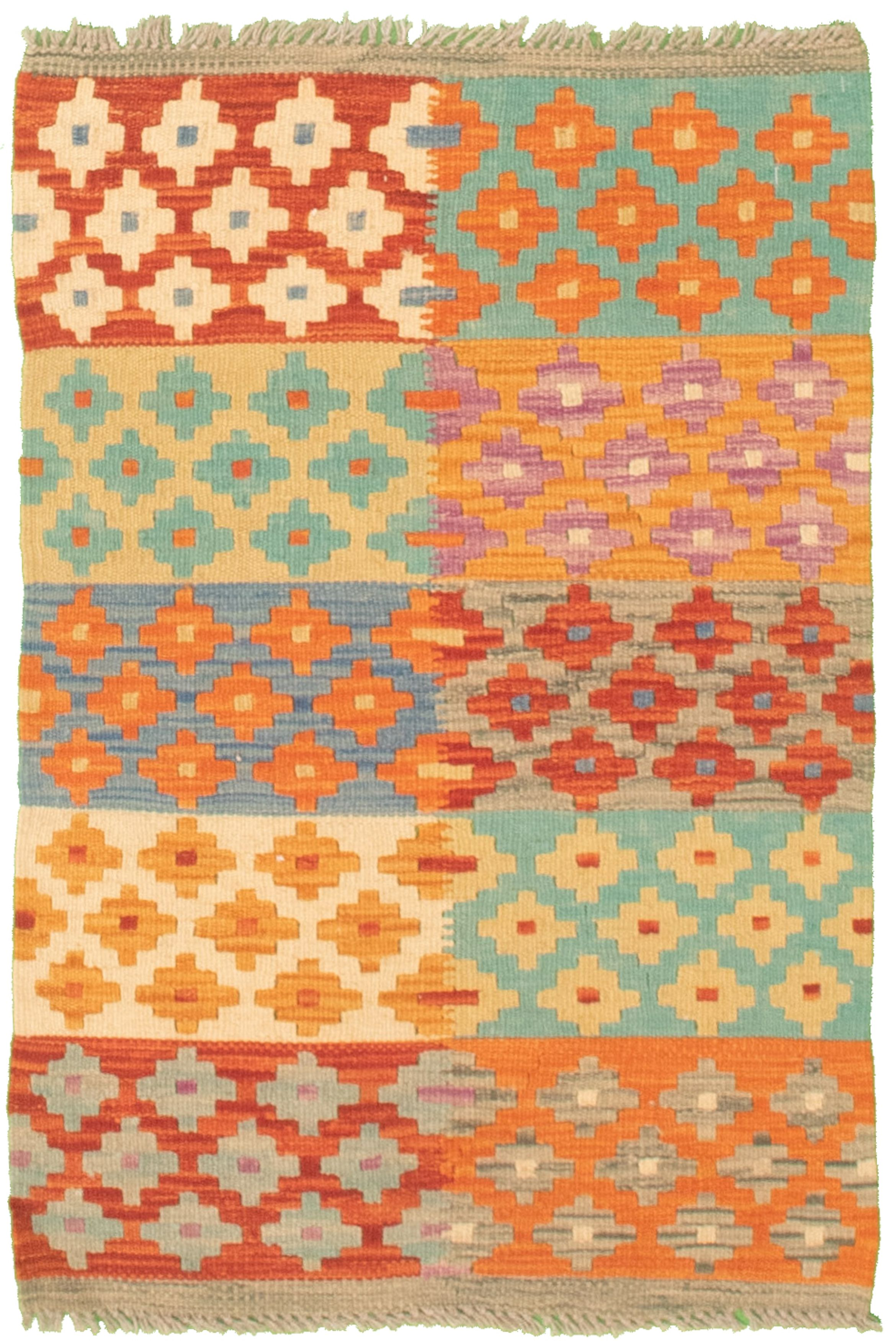 """Hand woven Bold and Colorful  Orange, Red Cotton Kilim 2'0"""" x 3'2"""" Size: 2'0"""" x 3'2"""""""