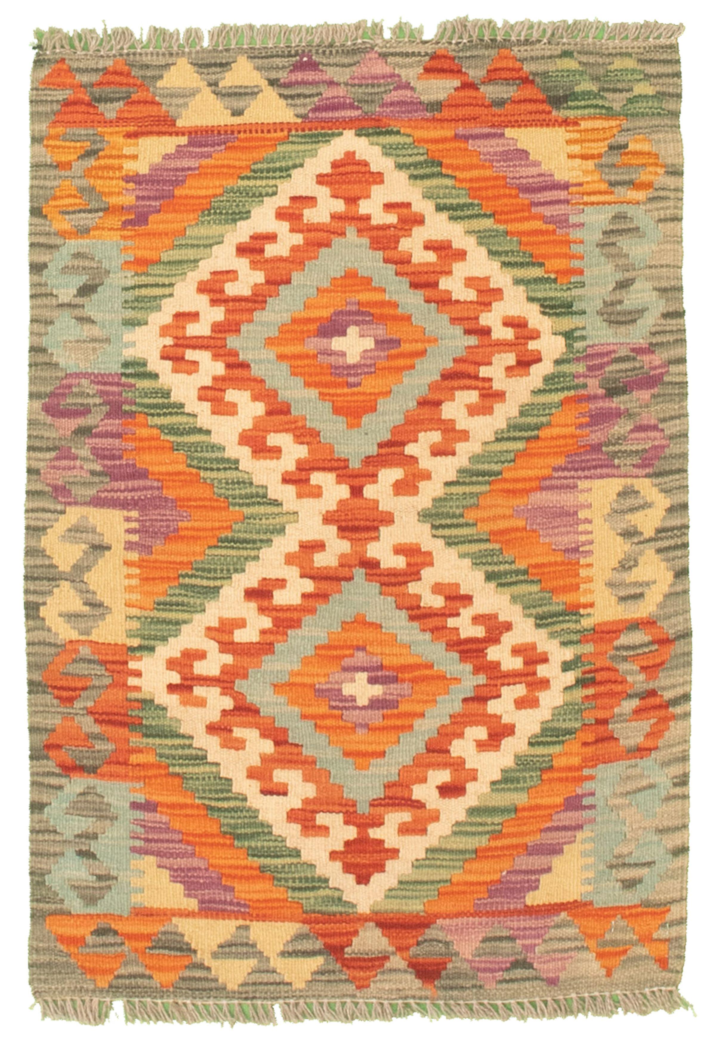 """Hand woven Bold and Colorful  Cream, Orange Cotton Kilim 2'0"""" x 3'0"""" Size: 2'0"""" x 3'0"""""""