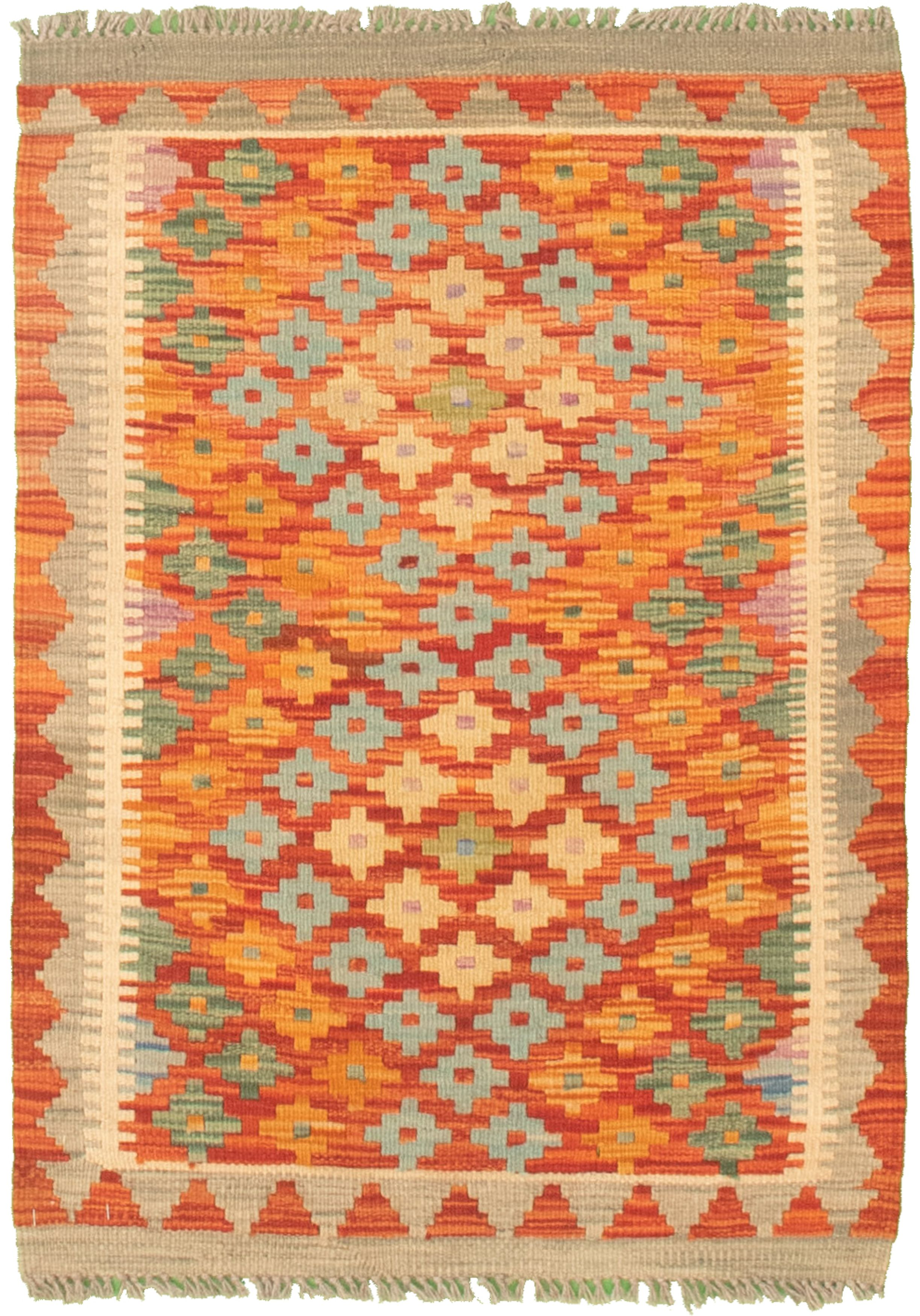 """Hand woven Bold and Colorful  Orange, Red Cotton Kilim 2'2"""" x 3'0"""" Size: 2'2"""" x 3'0"""""""