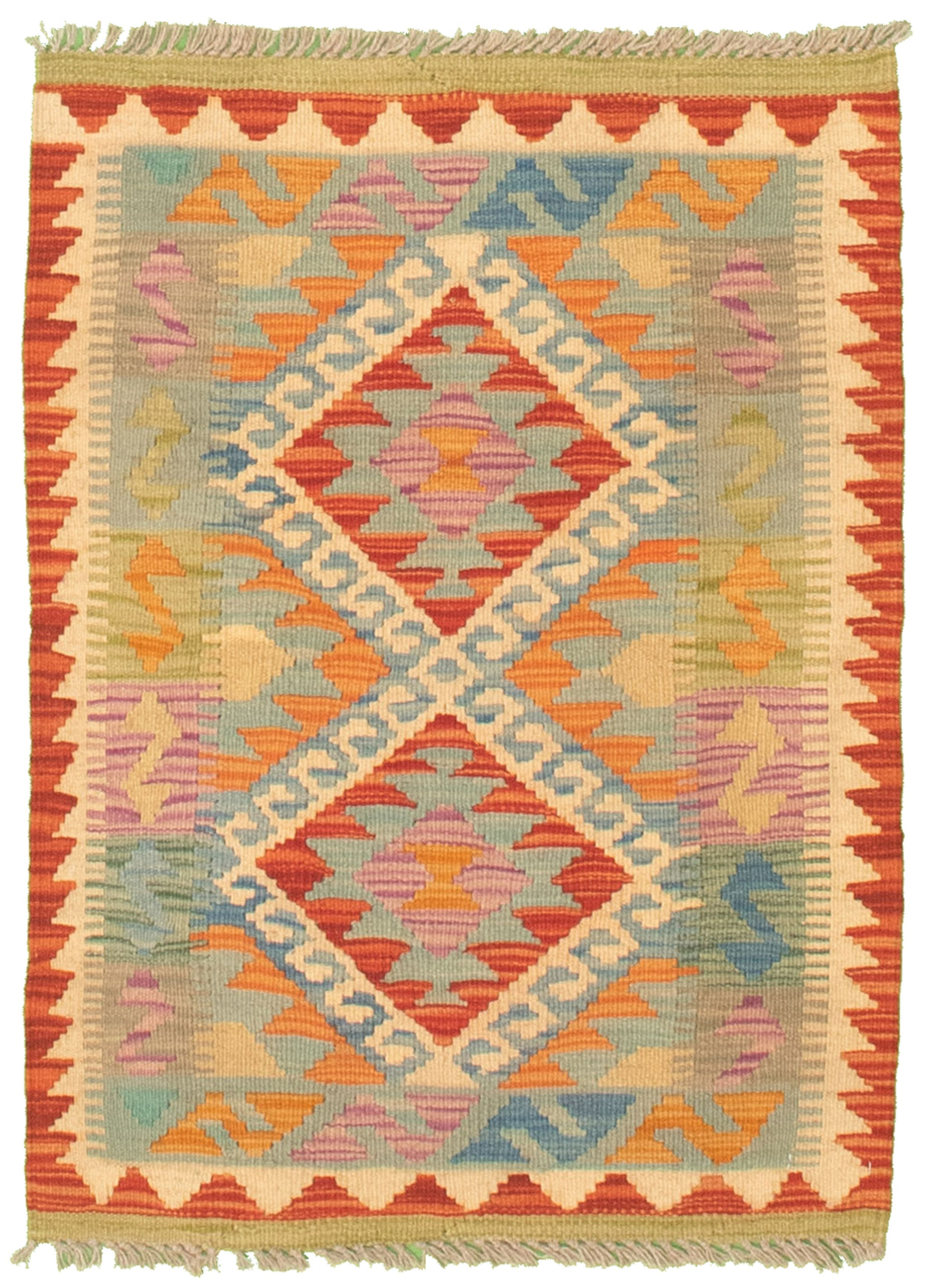 """Hand woven Bold and Colorful  Cream, Light Blue  Cotton Kilim 2'0"""" x 2'10"""" Size: 2'0"""" x 2'10"""""""