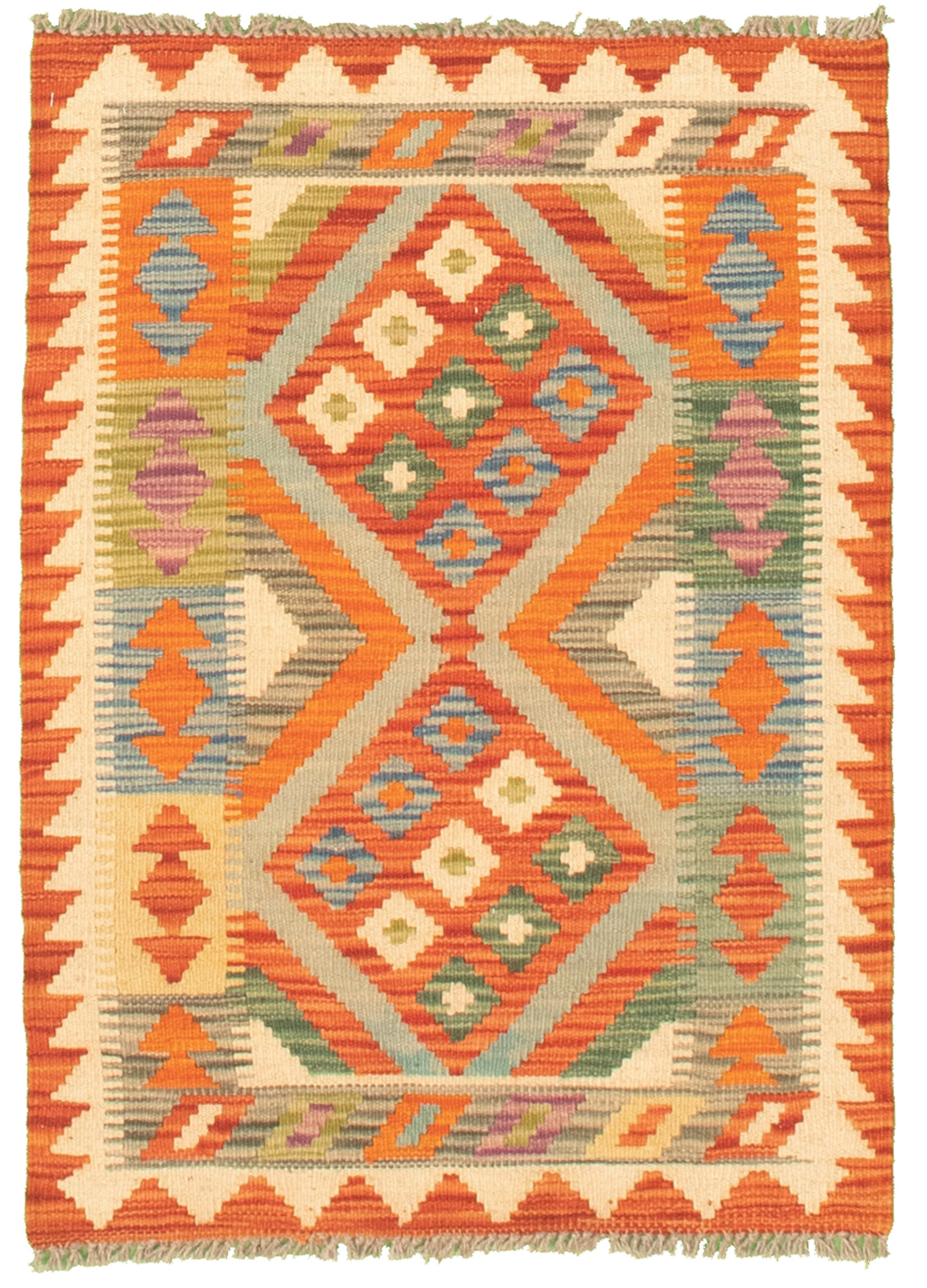 """Hand woven Bold and Colorful  Orange, Red Cotton Kilim 2'0"""" x 3'0"""" Size: 2'0"""" x 3'0"""""""