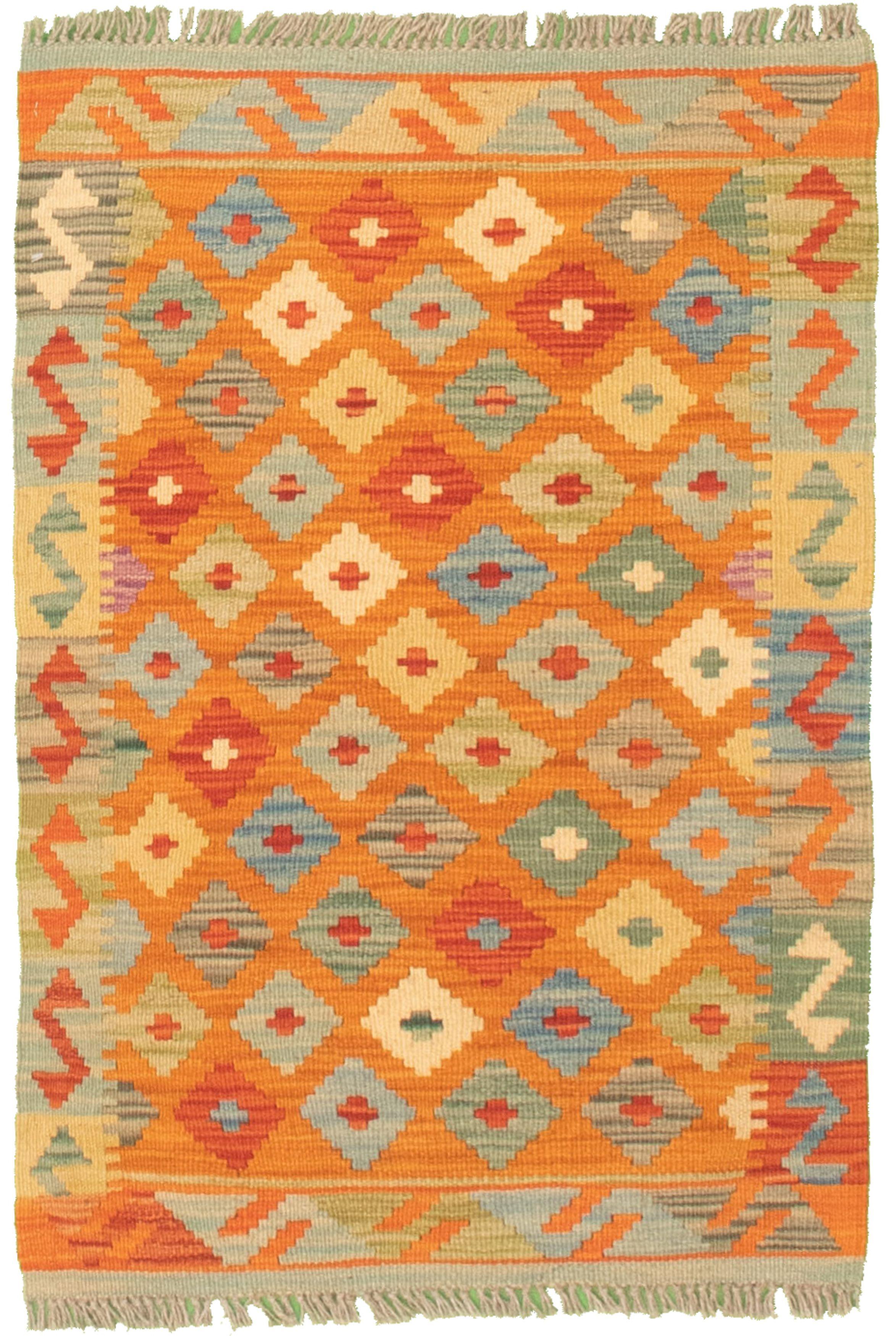 "Hand woven Bold and Colorful  Burnt Orange Cotton Kilim 1'10"" x 3'0"" Size: 1'10"" x 3'0"""
