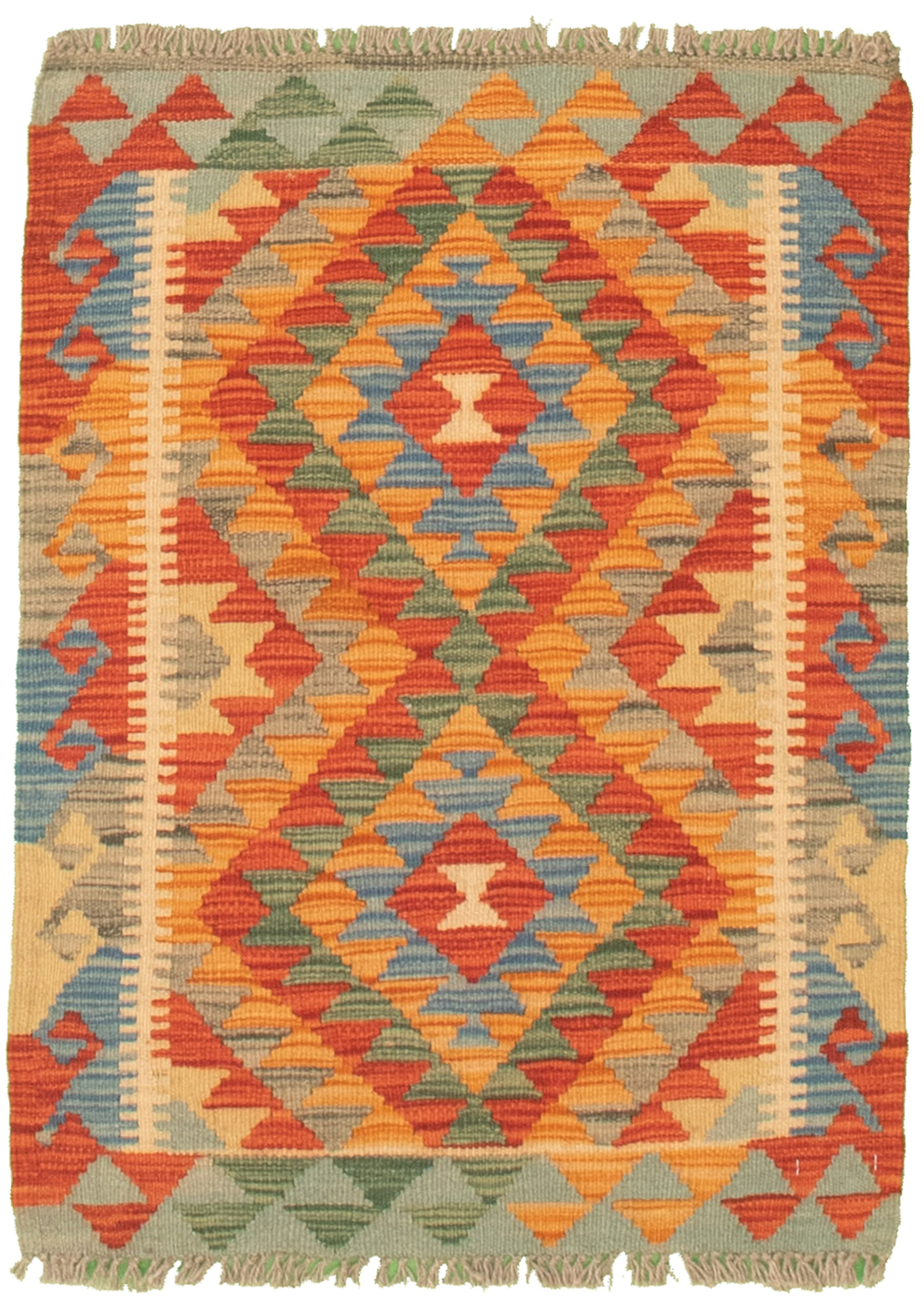 """Hand woven Bold and Colorful  Burnt Orange, Red Cotton Kilim 2'1"""" x 2'10"""" Size: 2'1"""" x 2'10"""""""