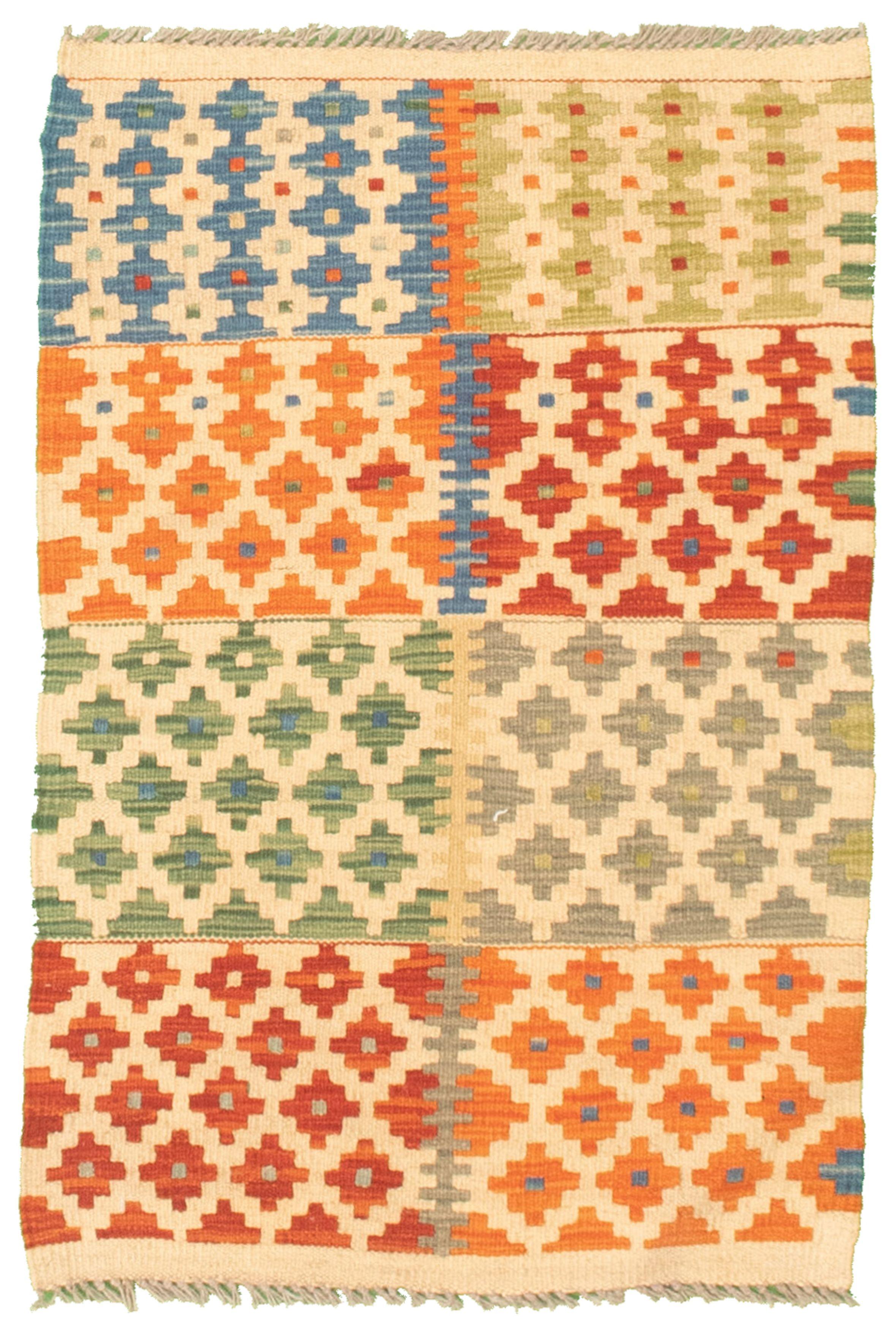 """Hand woven Bold and Colorful  Cream, Orange Cotton Kilim 2'0"""" x 3'1""""  Size: 2'0"""" x 3'1"""""""
