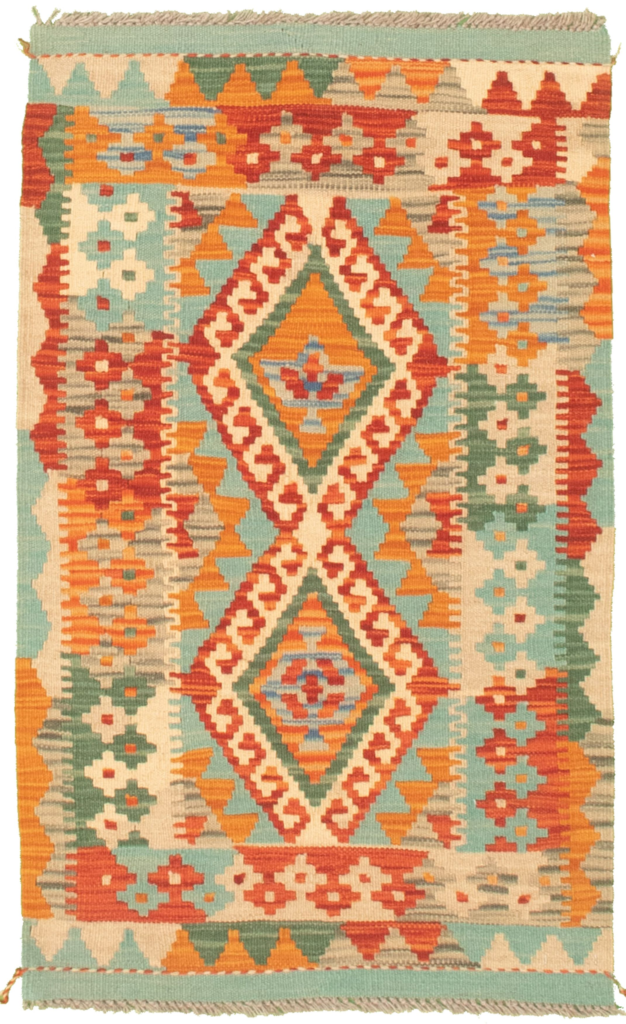 """Hand woven Bold and Colorful  Light Blue  Cotton Kilim 2'1"""" x 3'6"""" Size: 2'1"""" x 3'6"""""""