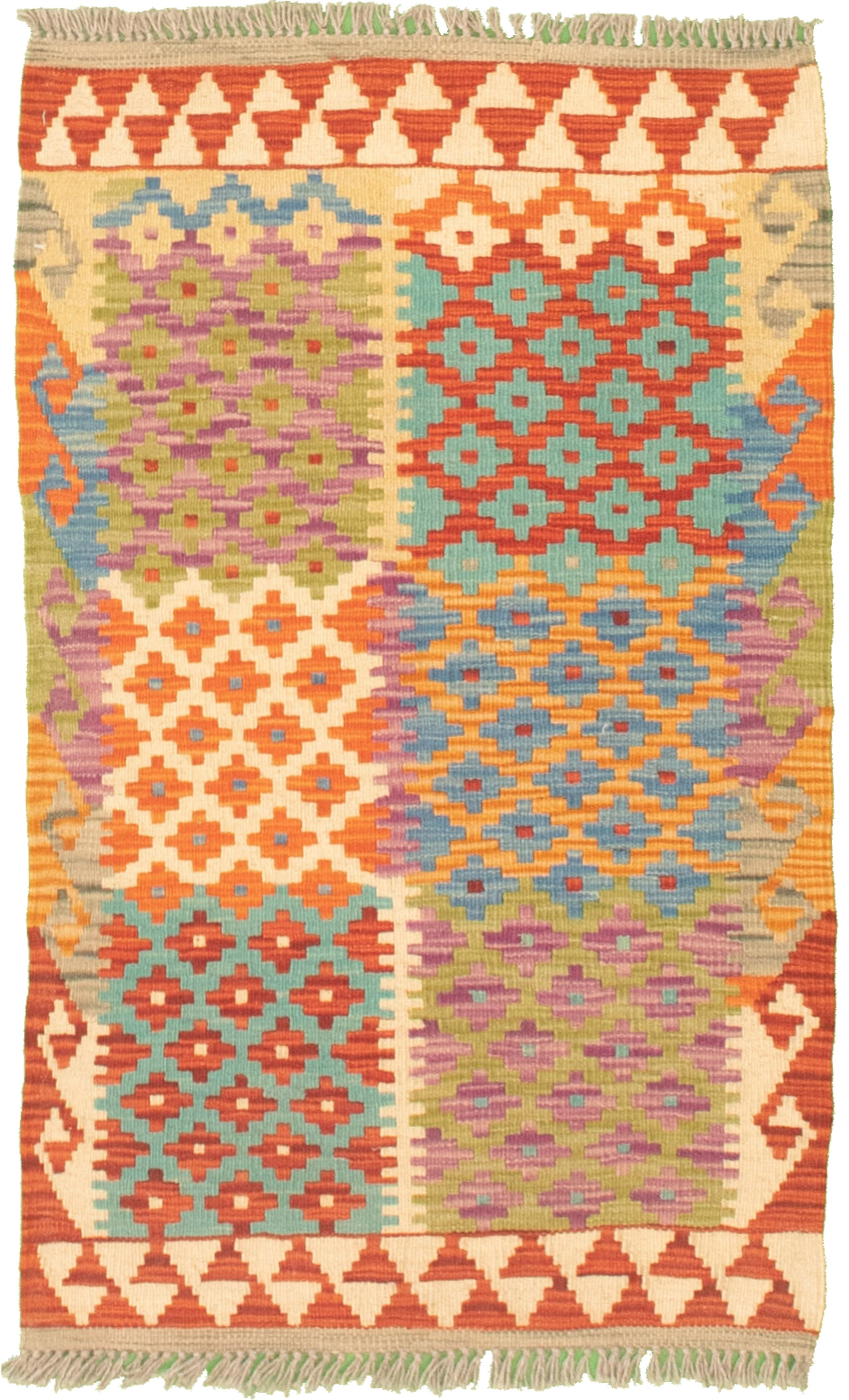 """Hand woven Bold and Colorful  Turquoise Cotton Kilim 2'0"""" x 3'2"""" Size: 2'0"""" x 3'2"""""""