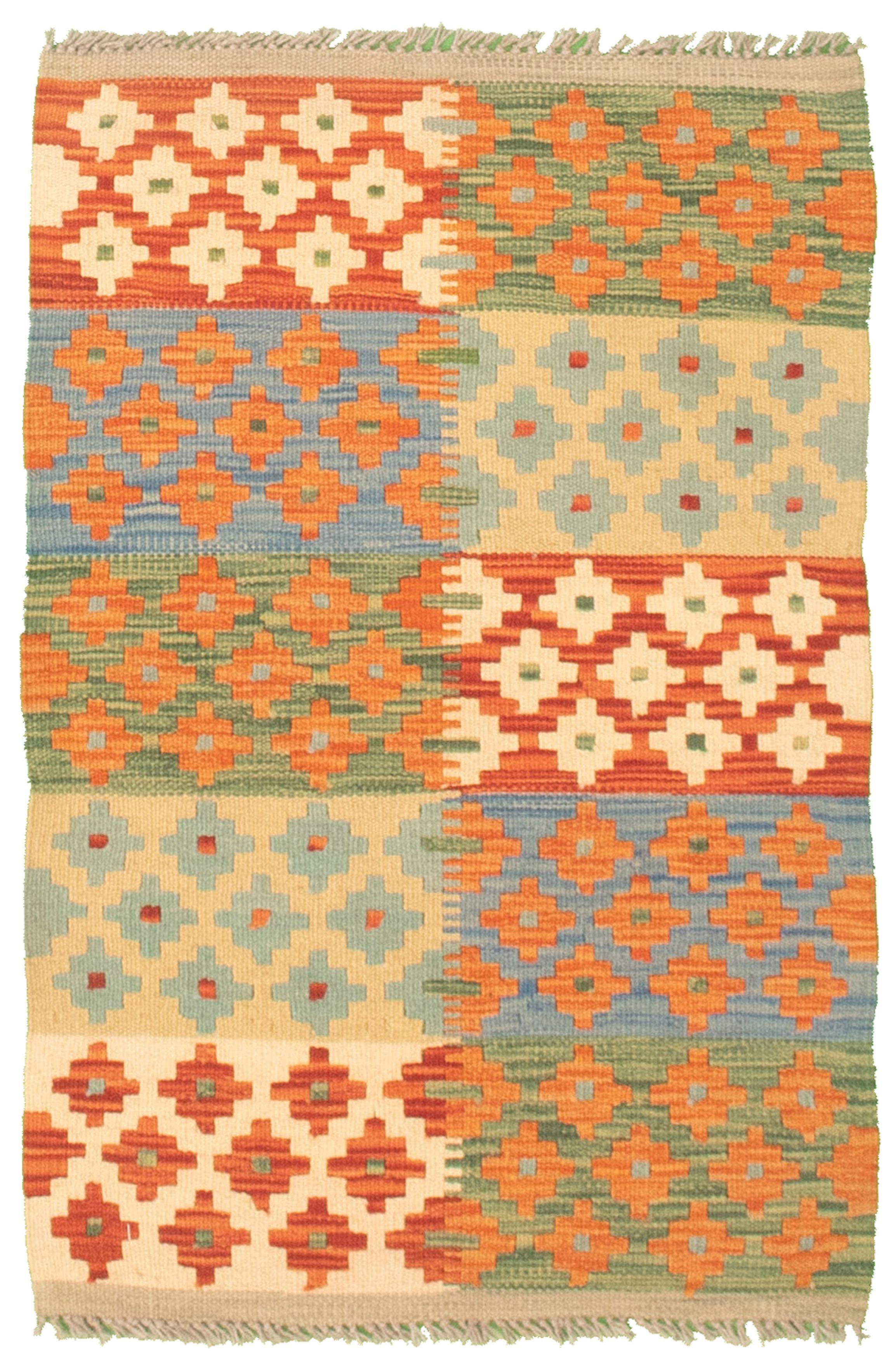 "Hand woven Bold and Colorful  Orange Cotton Kilim 2'0"" x 3'1"" Size: 2'0"" x 3'1"""