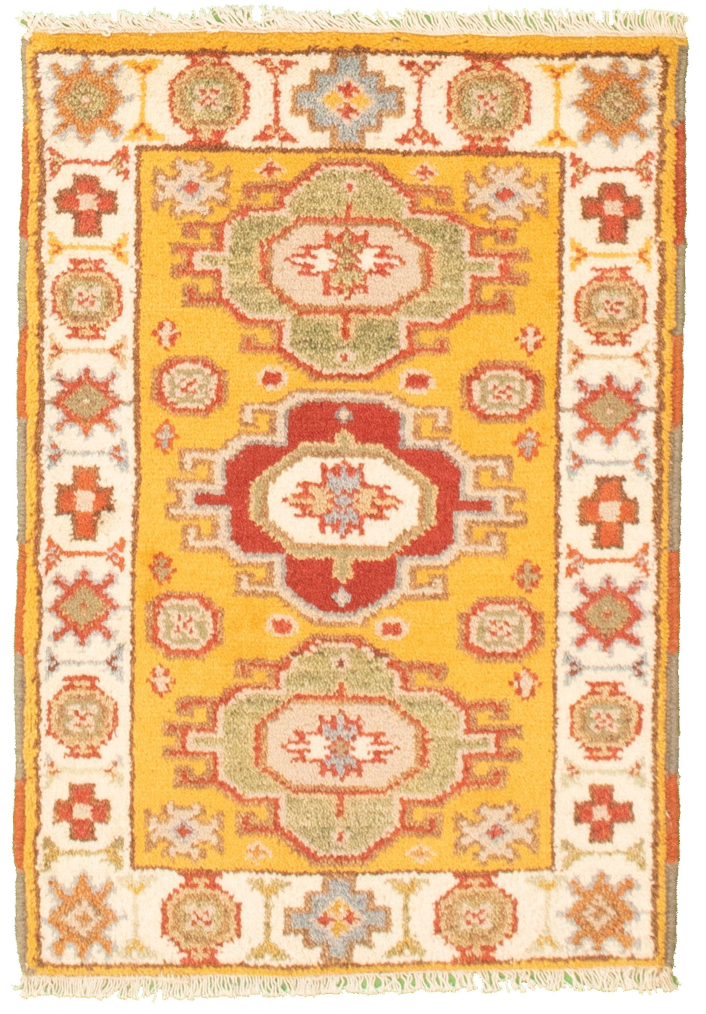 "Hand-knotted Royal Kazak Light Orange Cotton Rug 2'1"" x 3'0""  Size: 2'1"" x 3'0"""