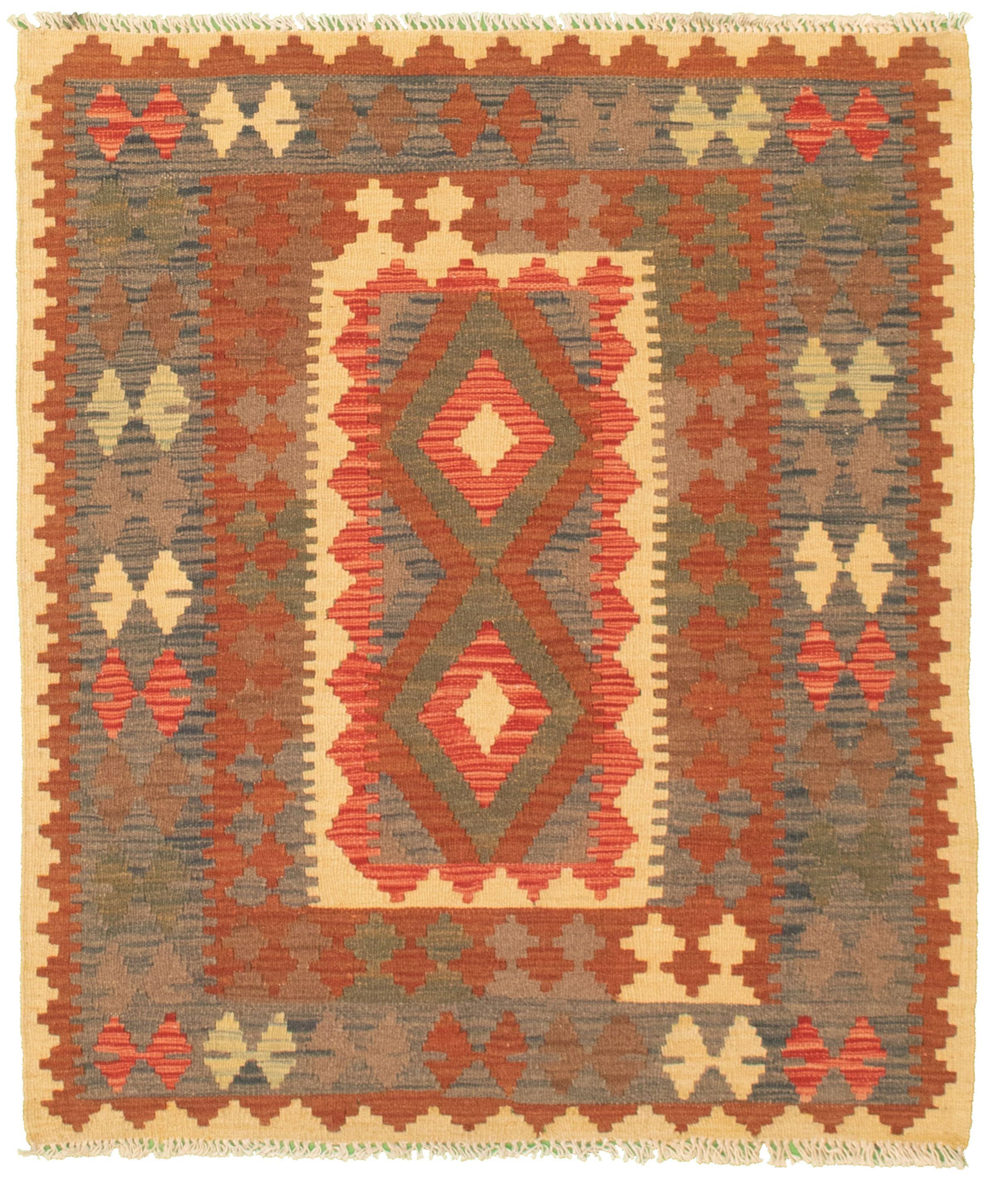 "Hand woven Kashkoli FW Dark Brown, Red Cotton Kilim 3'4"" x 4'0"" Size: 3'4"" x 4'0"""
