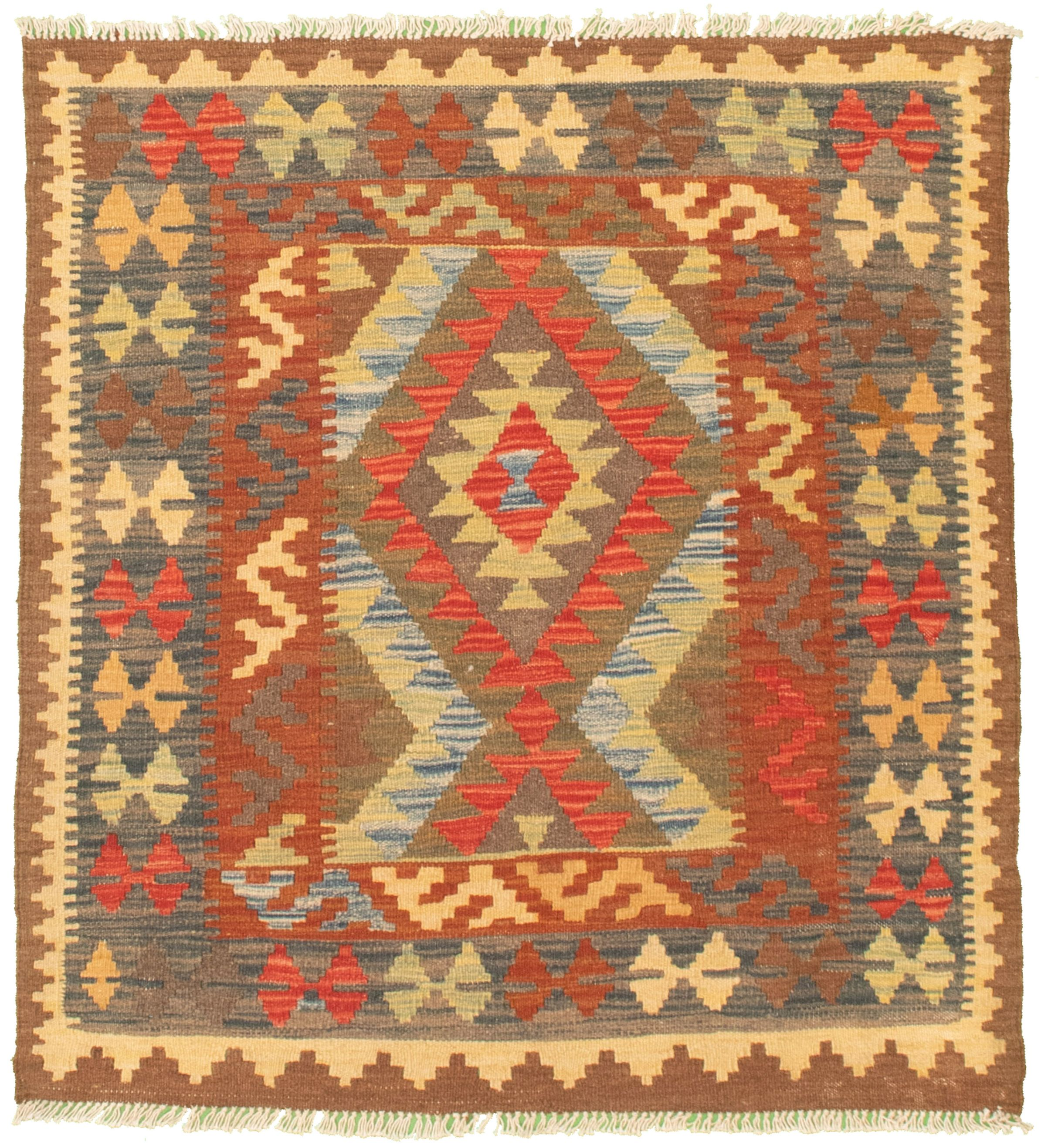 "Hand woven Kashkoli FW Dark Brown, Red Cotton Kilim 3'5"" x 3'7"" Size: 3'5"" x 3'7"""