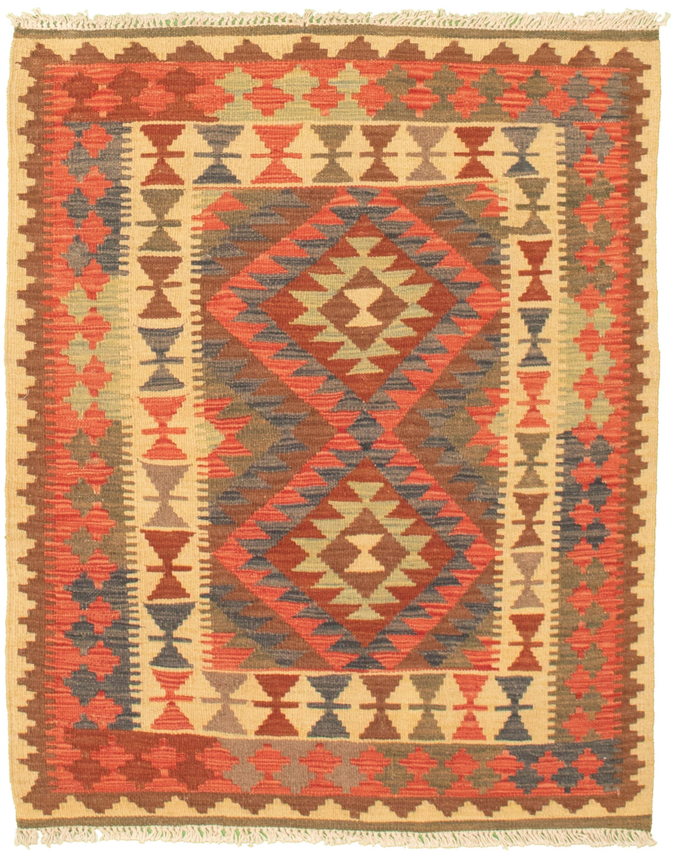 "Hand woven Kashkoli FW Navy Blue, Red Cotton Kilim 3'2"" x 3'11"" Size: 3'2"" x 3'11"""