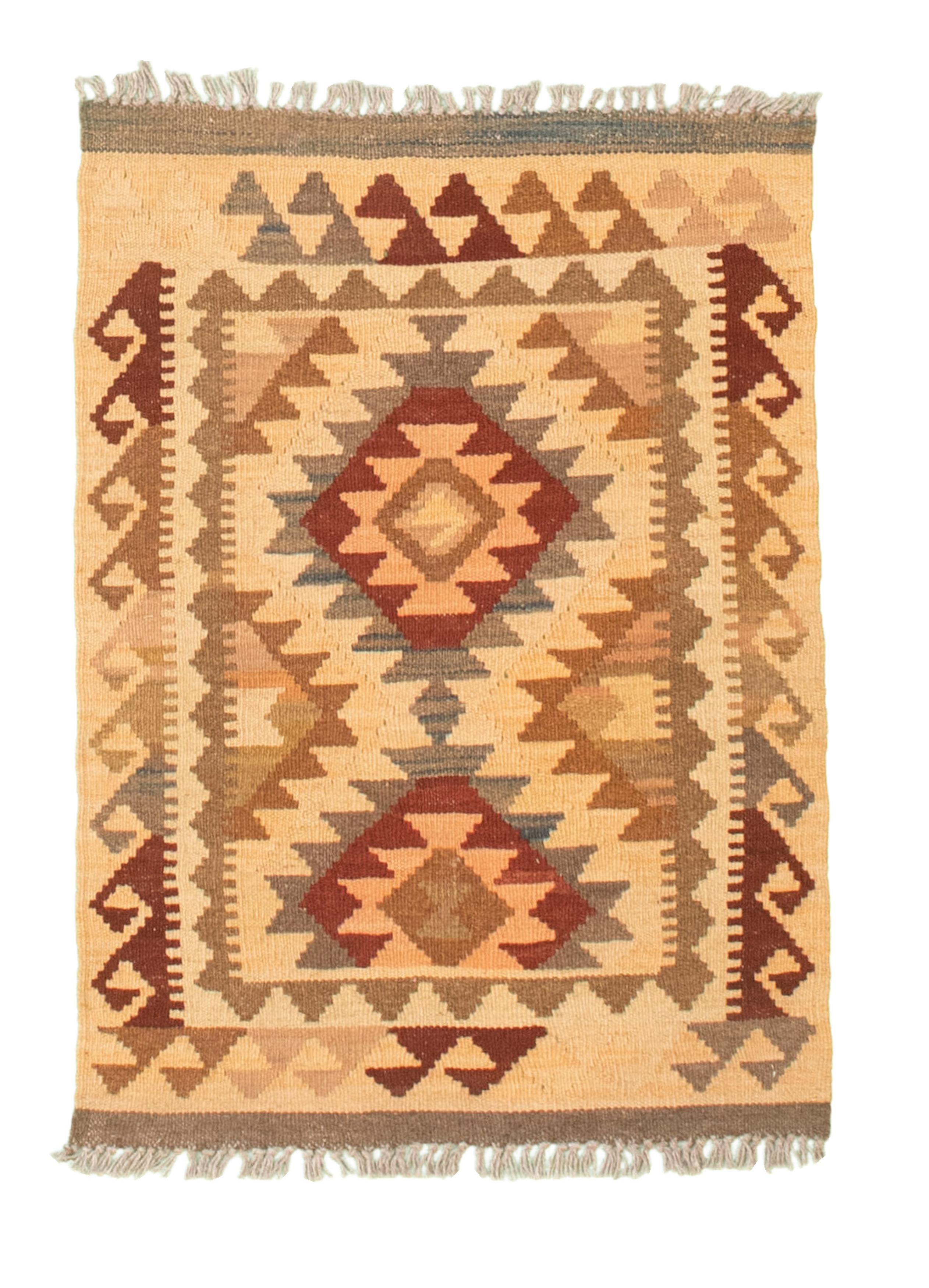 "Hand woven Kashkoli FW Cream Cotton Kilim 2'0"" x 2'9"" Size: 2'0"" x 2'9"""