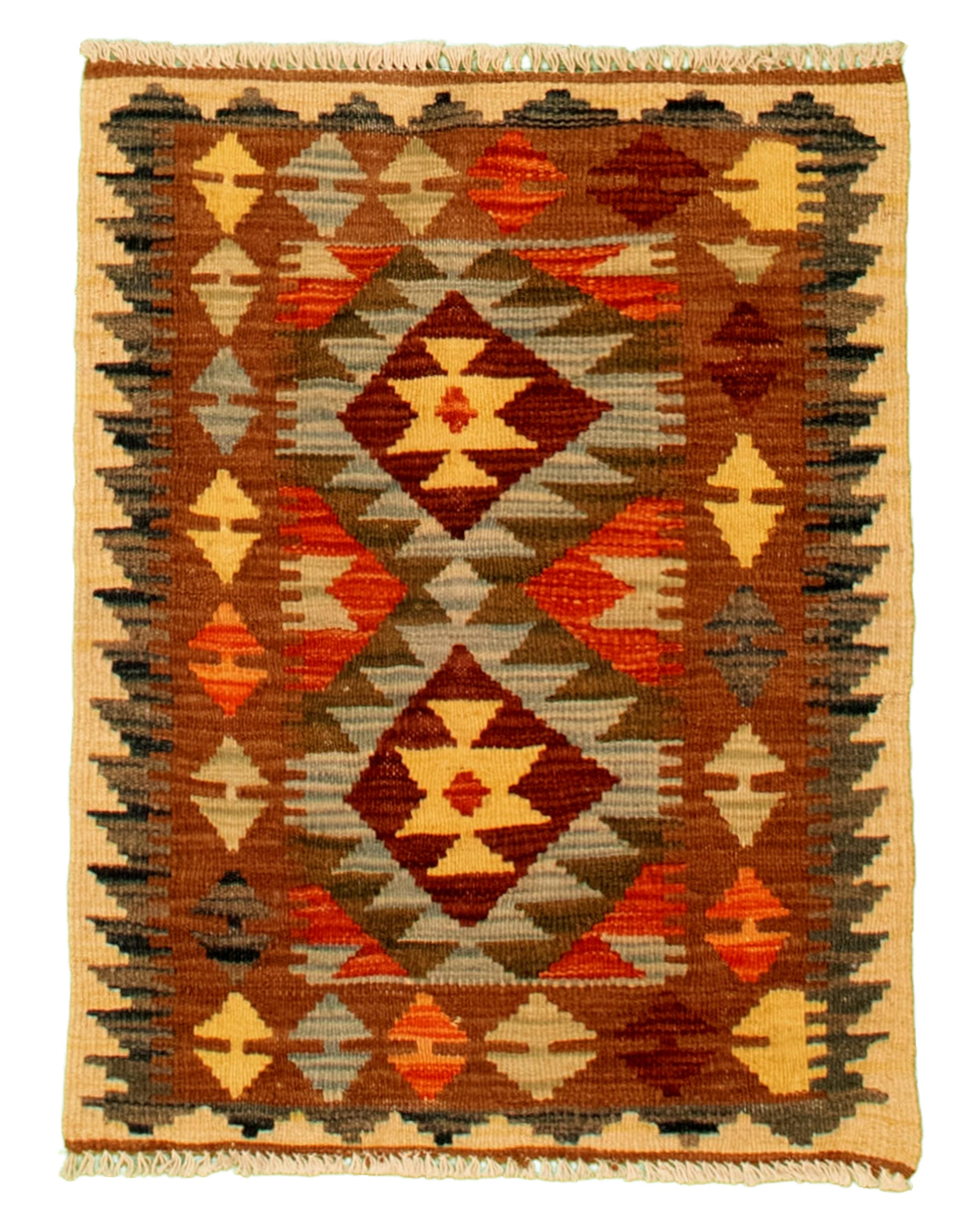 "Hand woven Kashkoli FW Brown, Light Blue  Cotton Kilim 1'10"" x 2'6"" Size: 1'10"" x 2'6"""