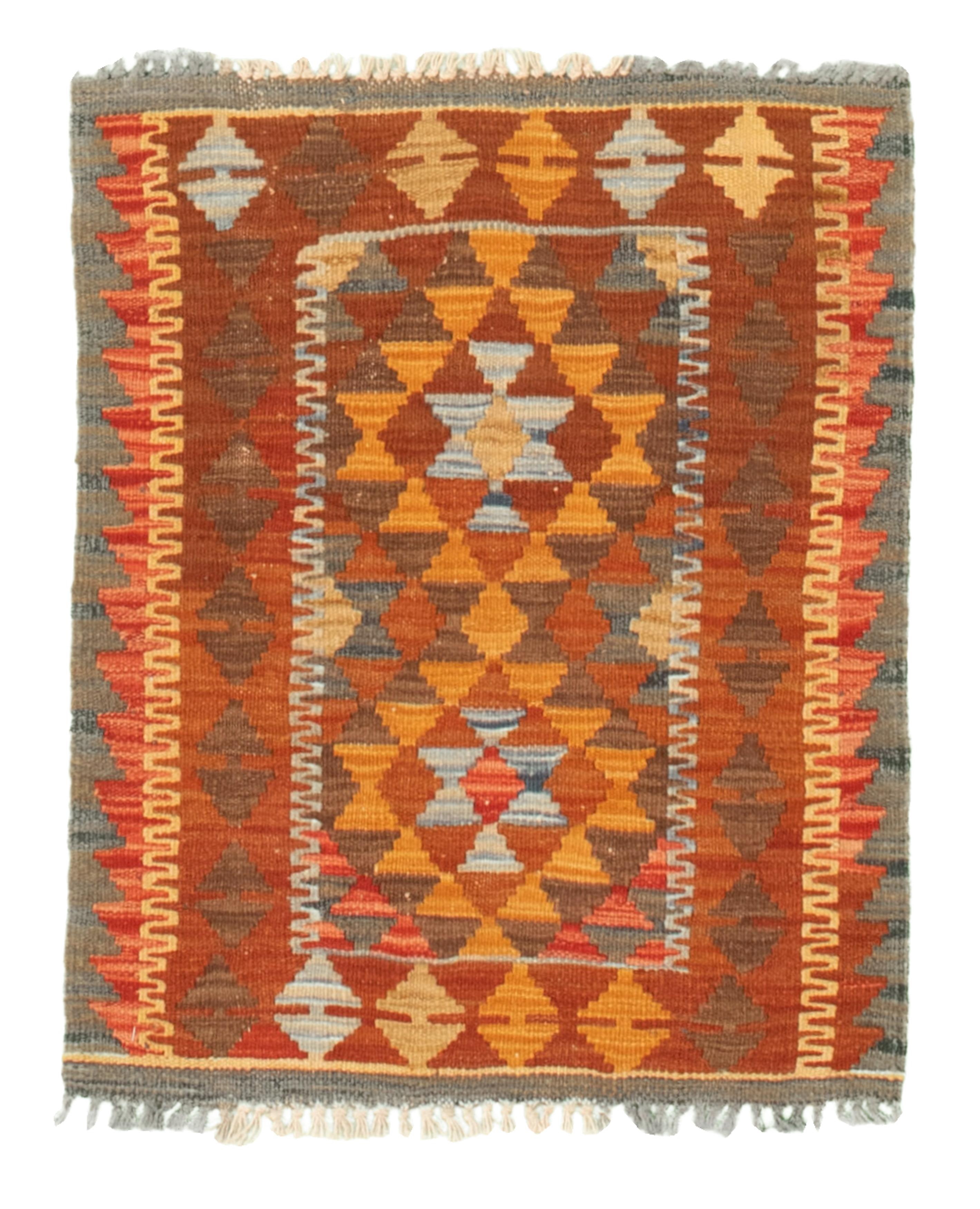 "Hand woven Kashkoli FW Dark Copper, Light Orange Cotton Kilim 2'1"" x 2'7"" Size: 2'1"" x 2'7"""