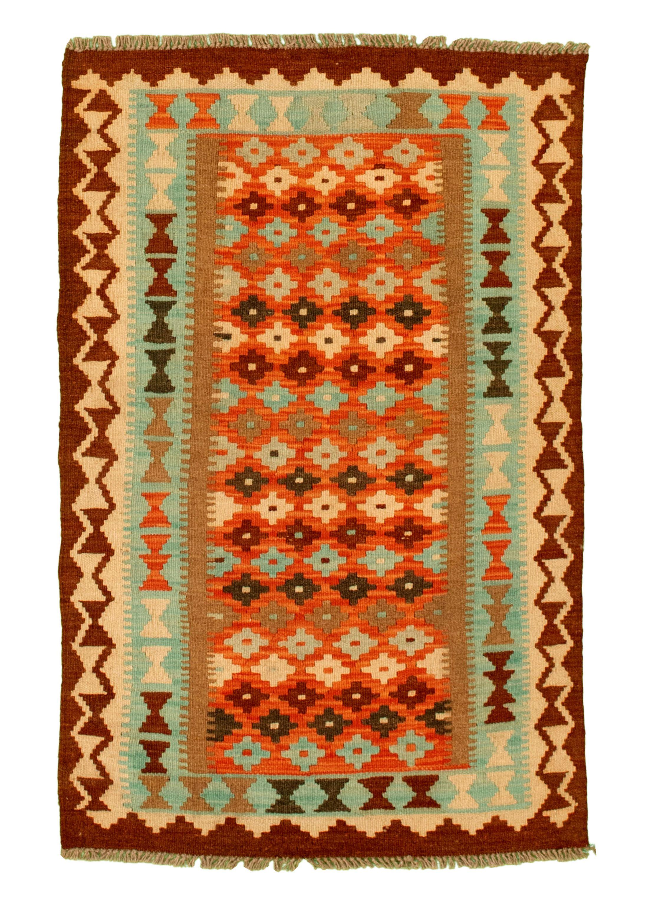 "Hand woven Kashkoli FW Light Blue , Red Cotton Kilim 2'9"" x 4'3"" Size: 2'9"" x 4'3"""