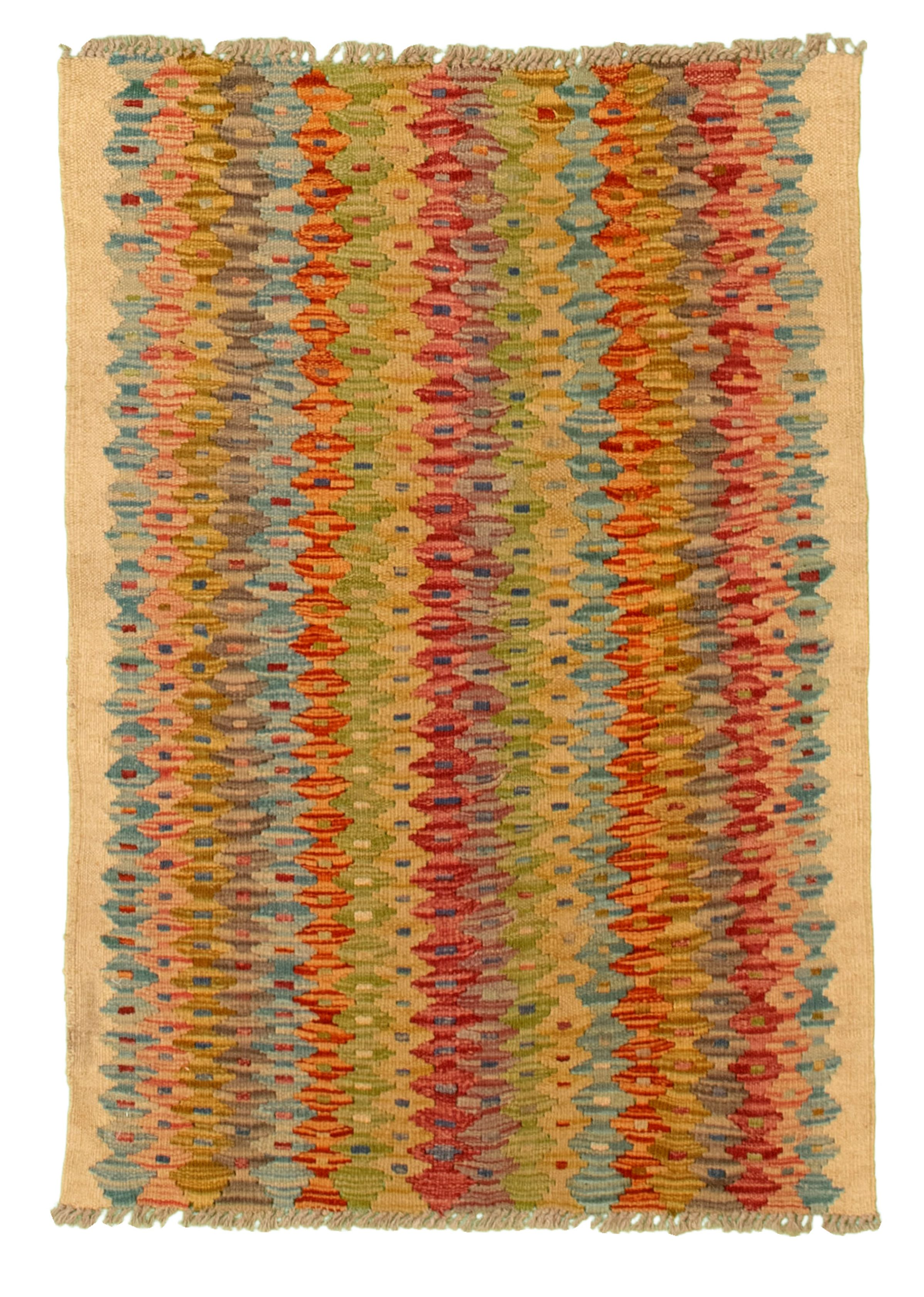 "Hand woven Hereke FW Blue, Cream, Olive Cotton Kilim 2'6"" x 3'7"" Size: 2'6"" x 3'7"""