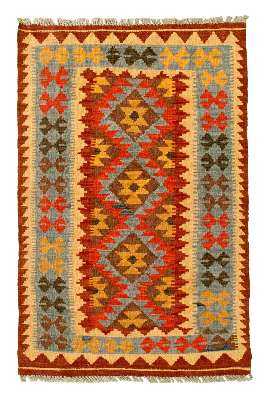 "Hand woven Kashkoli FW Light Blue , Red Cotton Kilim 2'8"" x 4'2"" Size: 2'7"" x 4'2"""