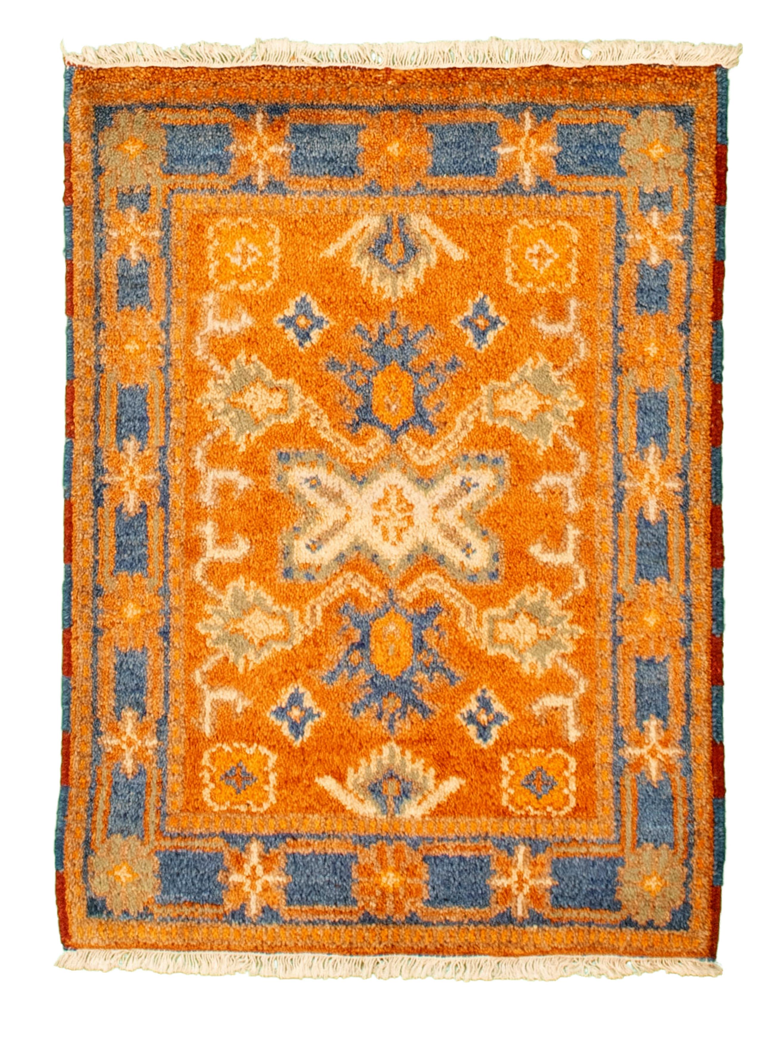 "Hand-knotted Royal Kazak Burnt Orange Cotton Rug 2'1"" x 3'0""  Size: 2'1"" x 3'0"""