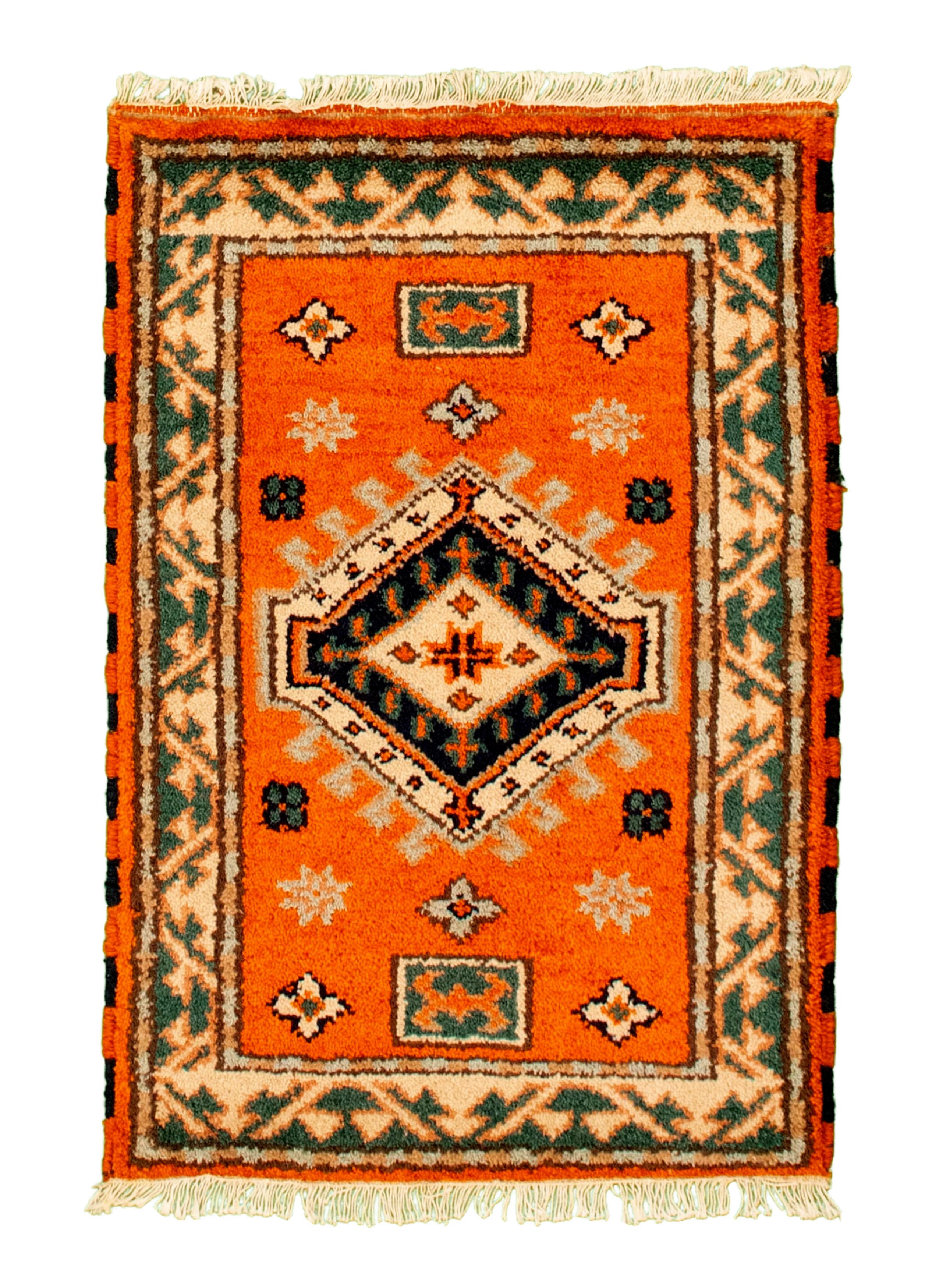 "Hand-knotted Royal Kazak Orange Cotton Rug 2'1"" x 3'0""  Size: 2'1"" x 3'0"""