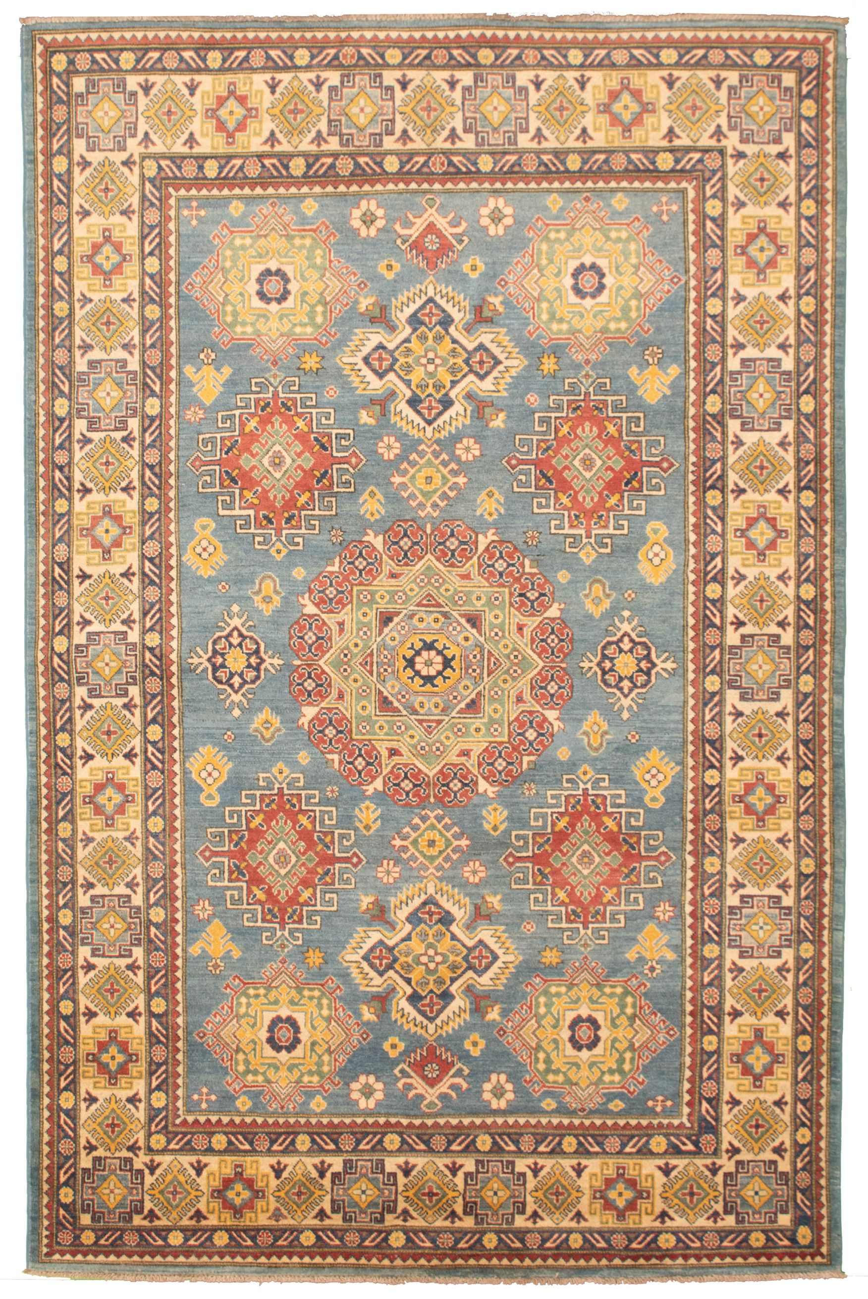 """Hand-knotted Finest Gazni Light Blue  Wool Rug 6'4"""" x 10'4"""" Size: 6'4"""" x 10'4"""""""