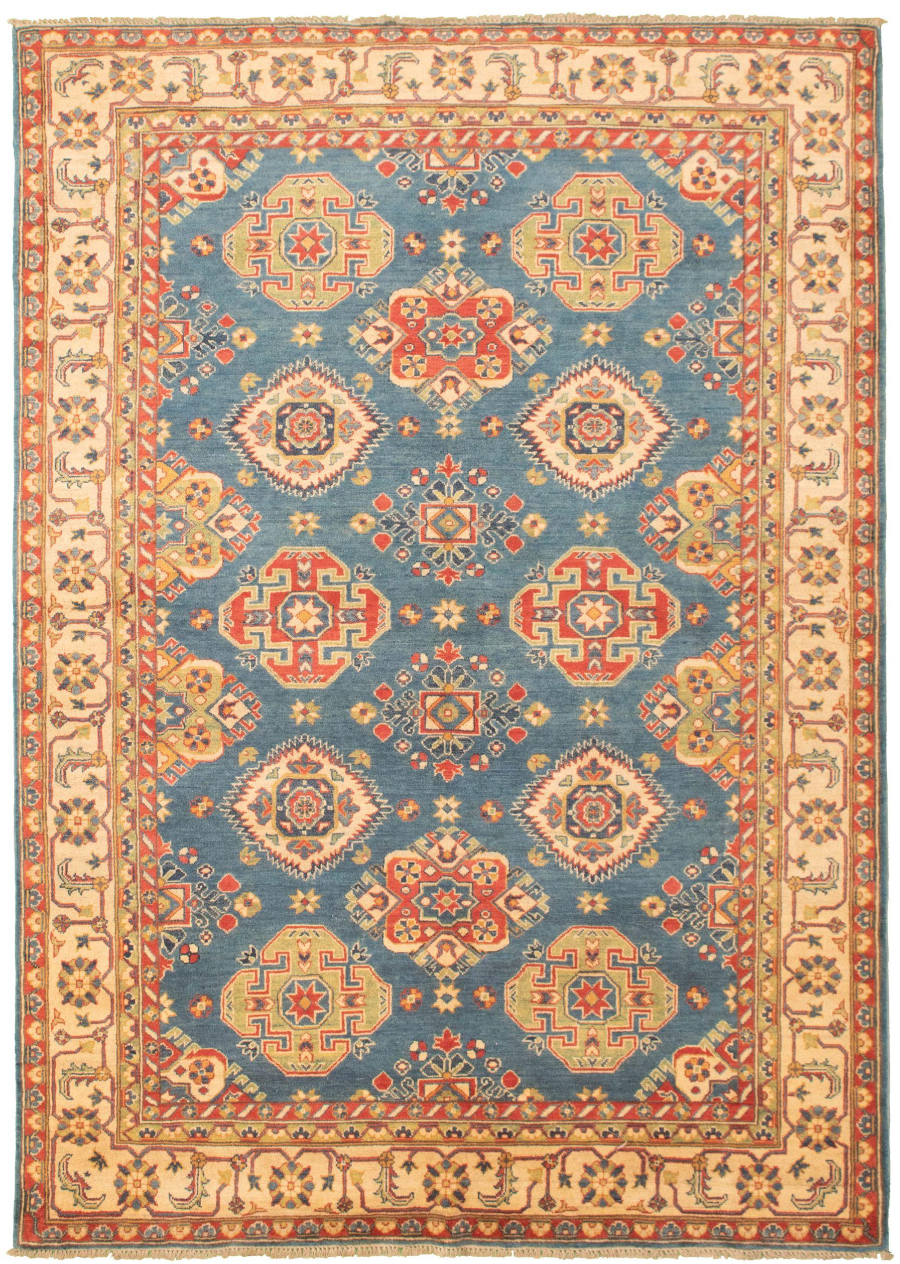 "Hand-knotted Finest Gazni Light Denim Blue Wool Rug 6'5"" x 9'7"" Size: 6'5"" x 9'7"""