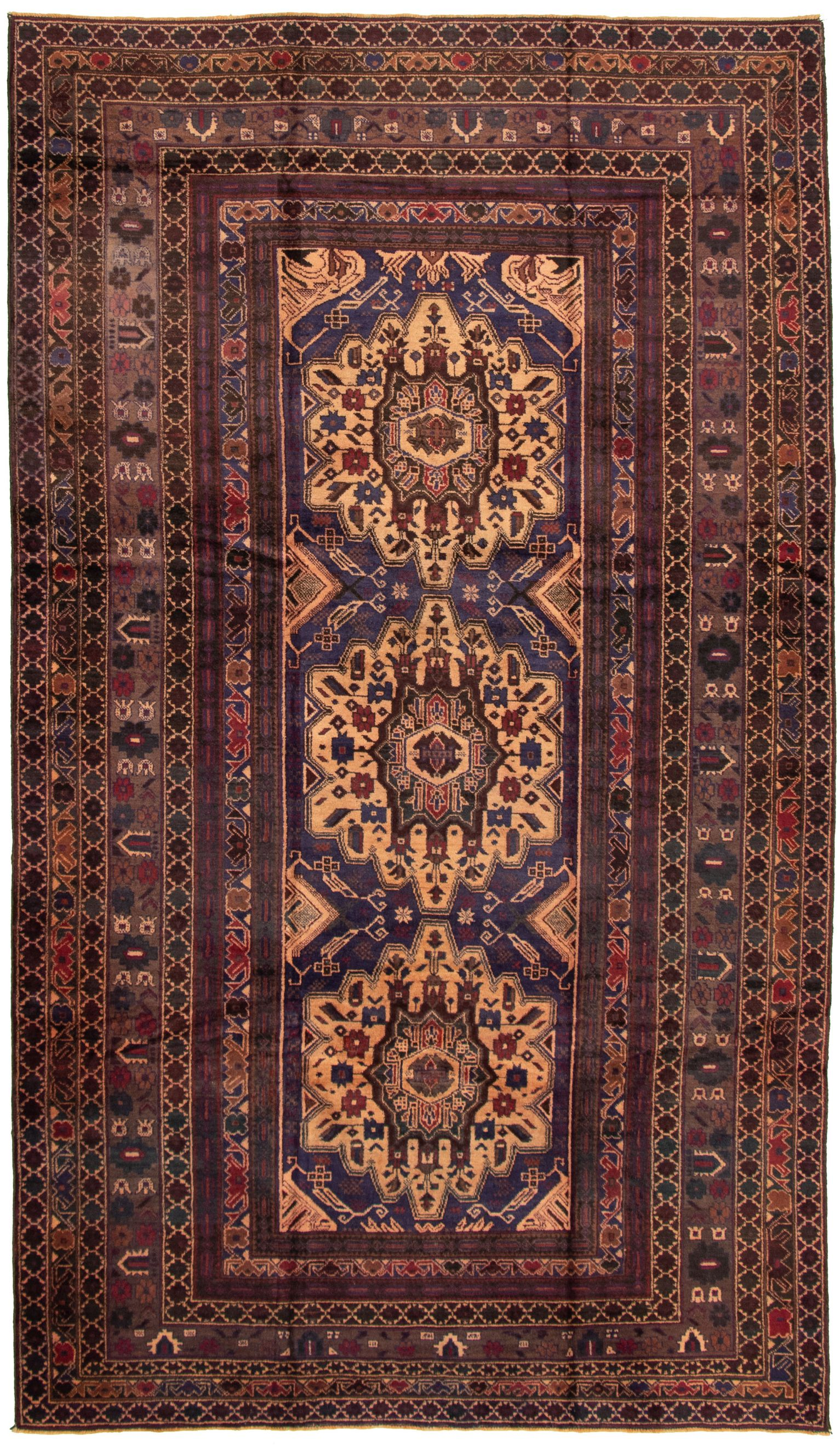 """Hand-knotted Teimani Brown, Navy Blue Wool Rug 6'3"""" x 10'11"""" Size: 6'3"""" x 10'11"""""""