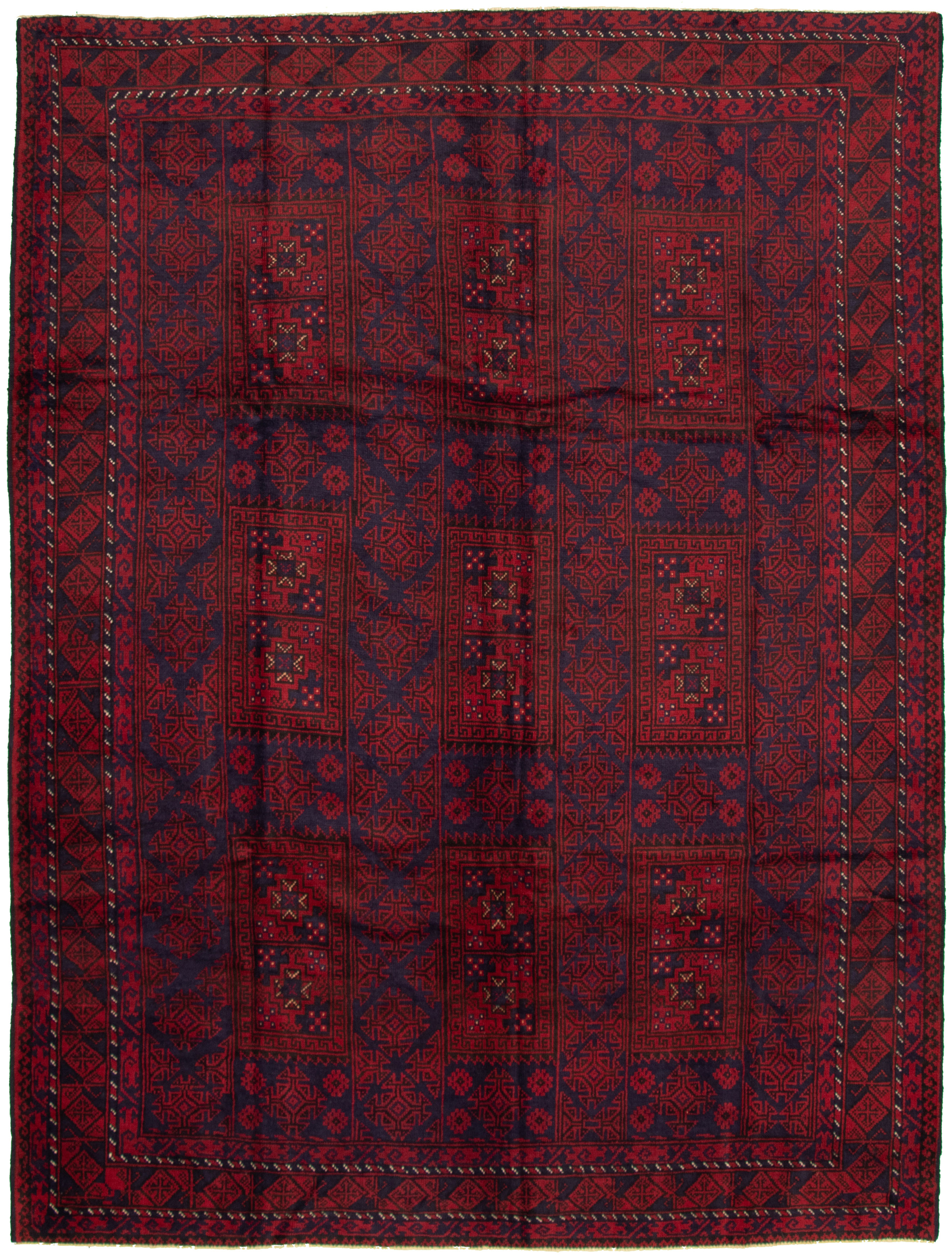 """Hand-knotted Akhjah Dark Red Wool Rug 8'0"""" x 10'8"""" Size: 8'0"""" x 10'8"""""""
