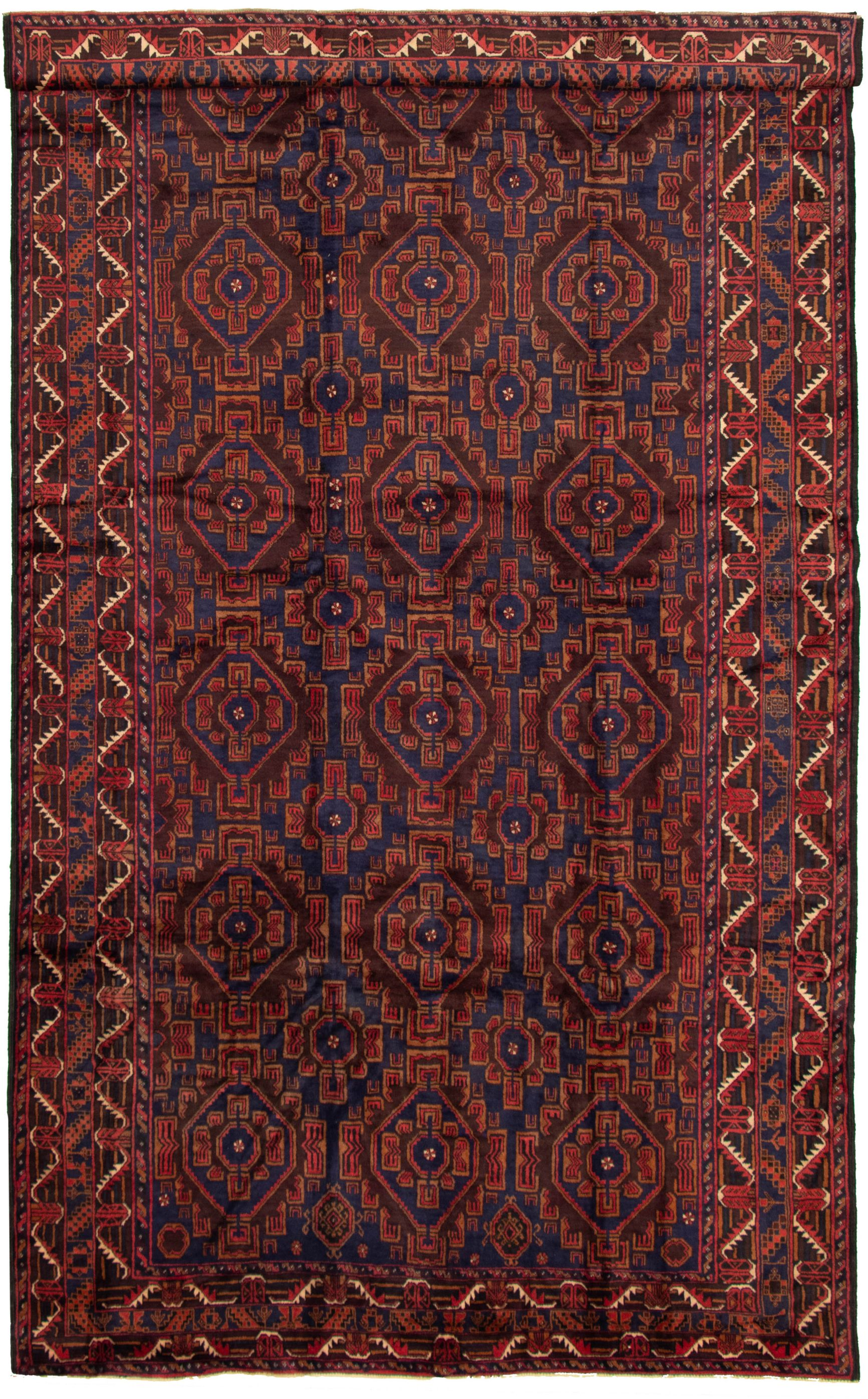 """Hand-knotted Teimani Dark Red, Navy Blue Wool Rug 7'3"""" x 13'1"""" Size: 7'3"""" x 13'1"""""""