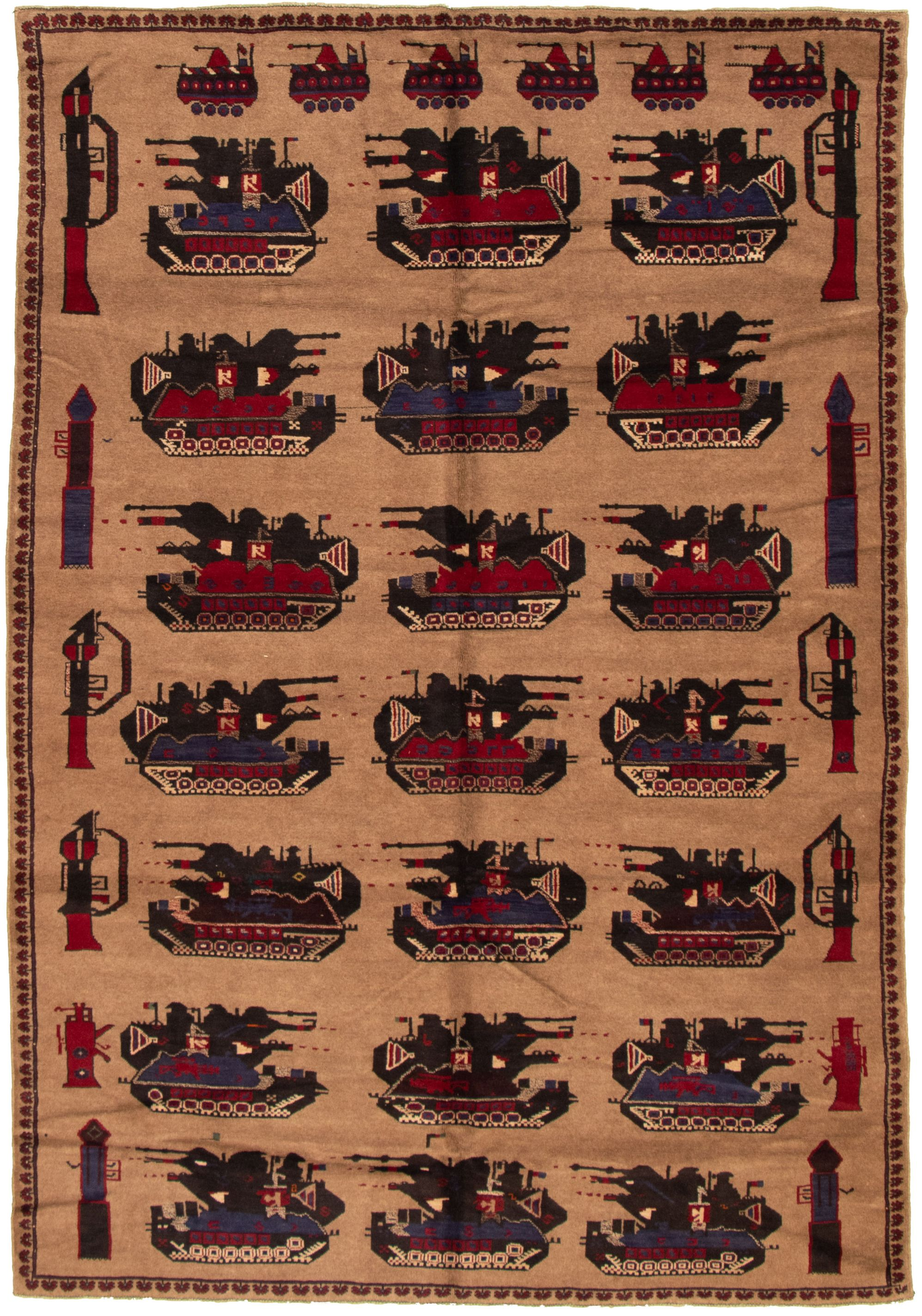 """Hand-knotted Rare War Tan Wool Rug 6'0"""" x 9'5"""" Size: 6'0"""" x 9'5"""""""