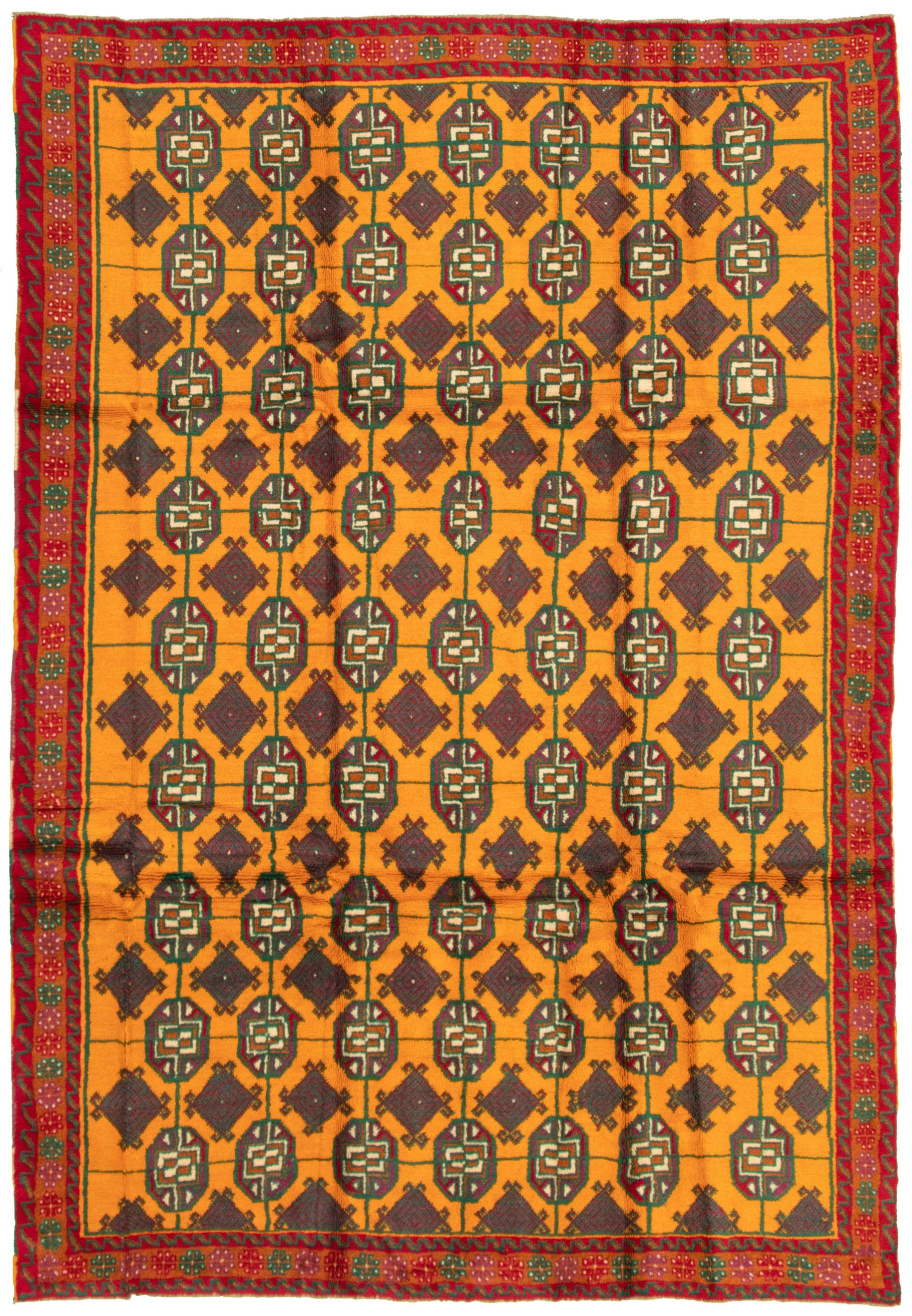 "Hand-knotted Akhjah Light Orange Wool Rug 6'9"" x 9'9"" Size: 6'9"" x 9'9"""