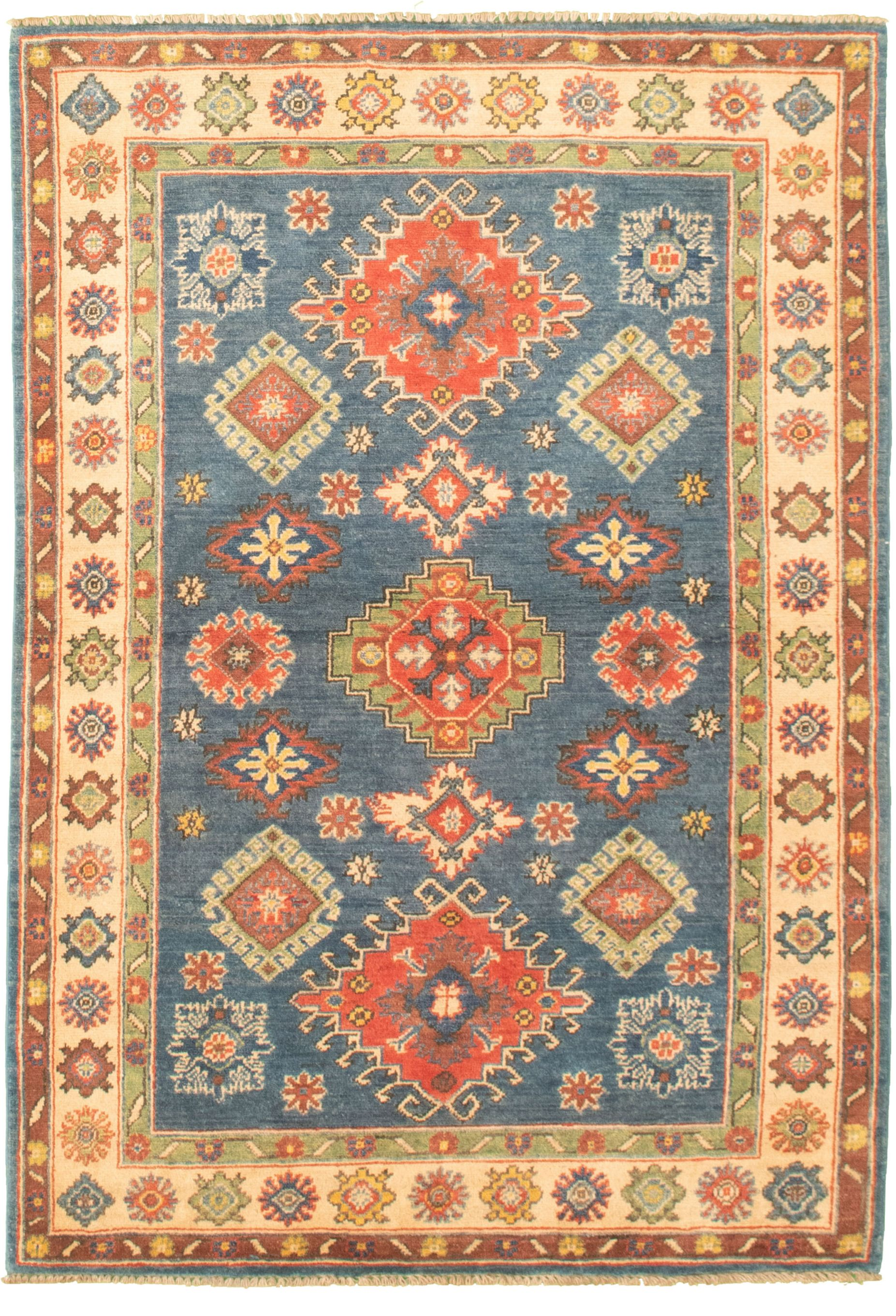 """Hand-knotted Finest Gazni Blue Wool Rug 3'11"""" x 5'11""""  Size: 3'11"""" x 5'11"""""""