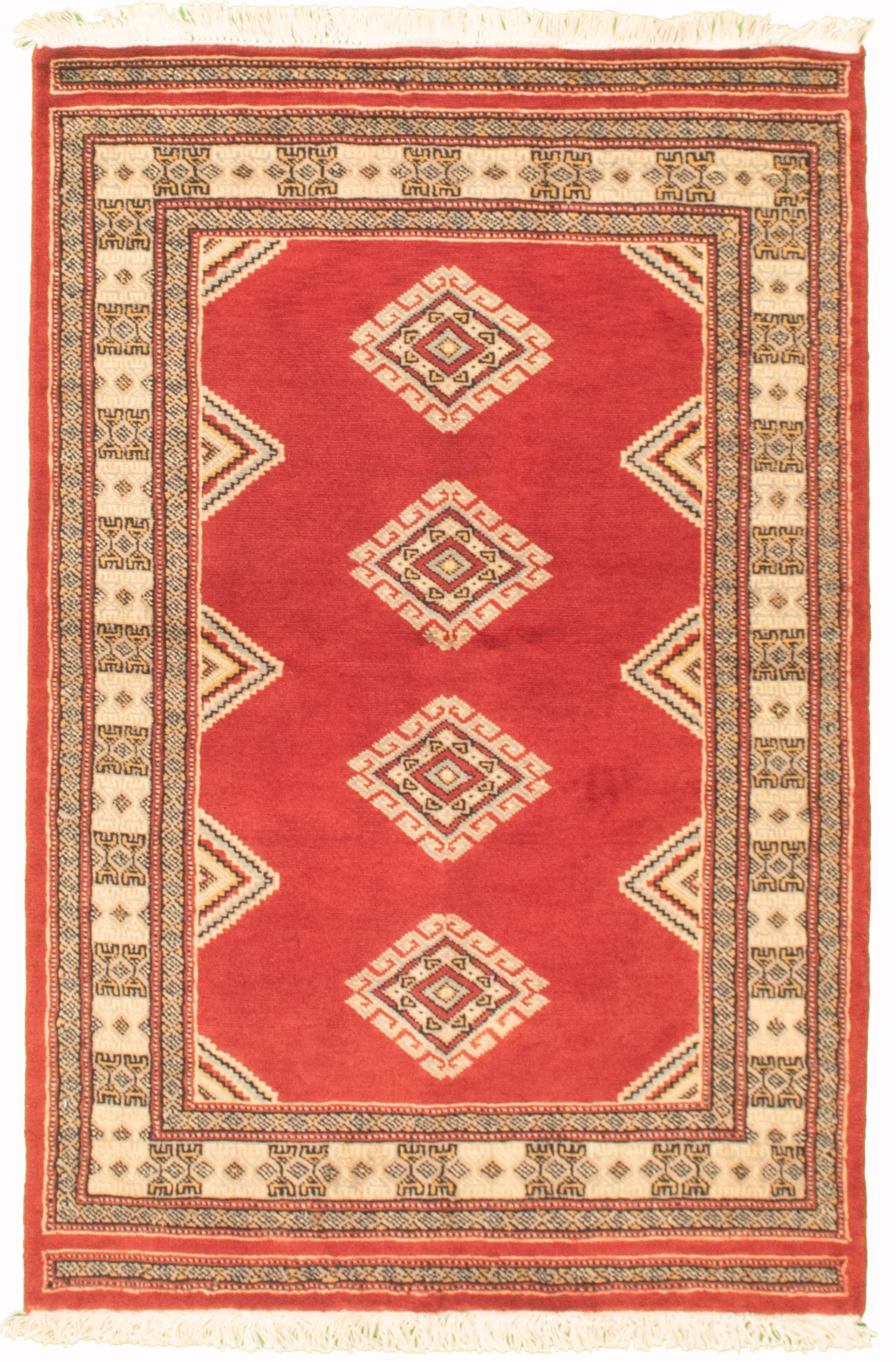 """Hand-knotted Finest Peshawar Bokhara Red Wool Rug 3'1"""" x 4'11""""  Size: 3'1"""" x 4'11"""""""