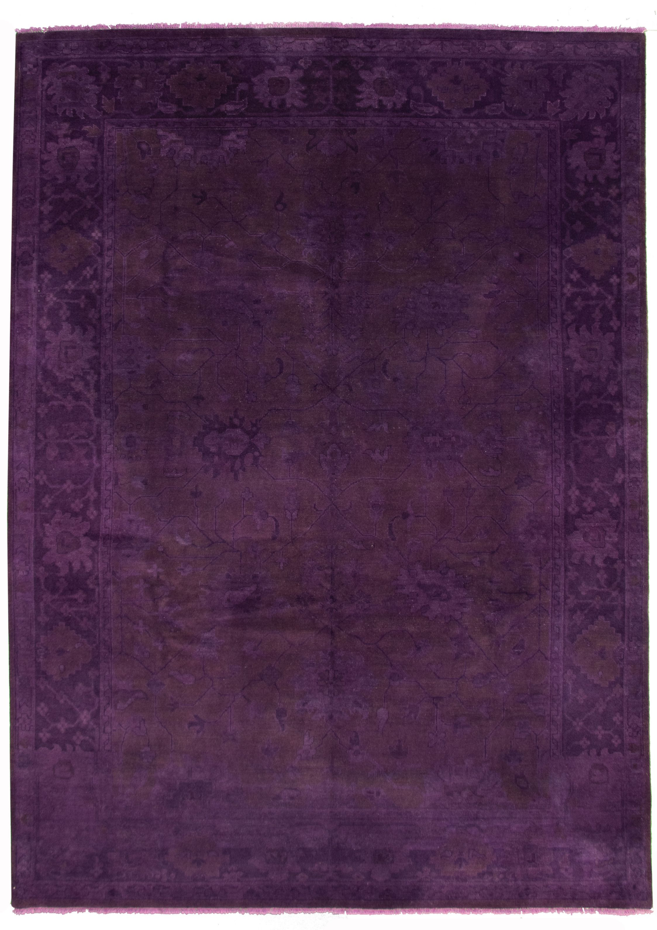 """Hand-knotted Color transition Dark Purple  Wool Rug 8'9"""" x 12'0"""" Size: 8'9"""" x 12'0"""""""