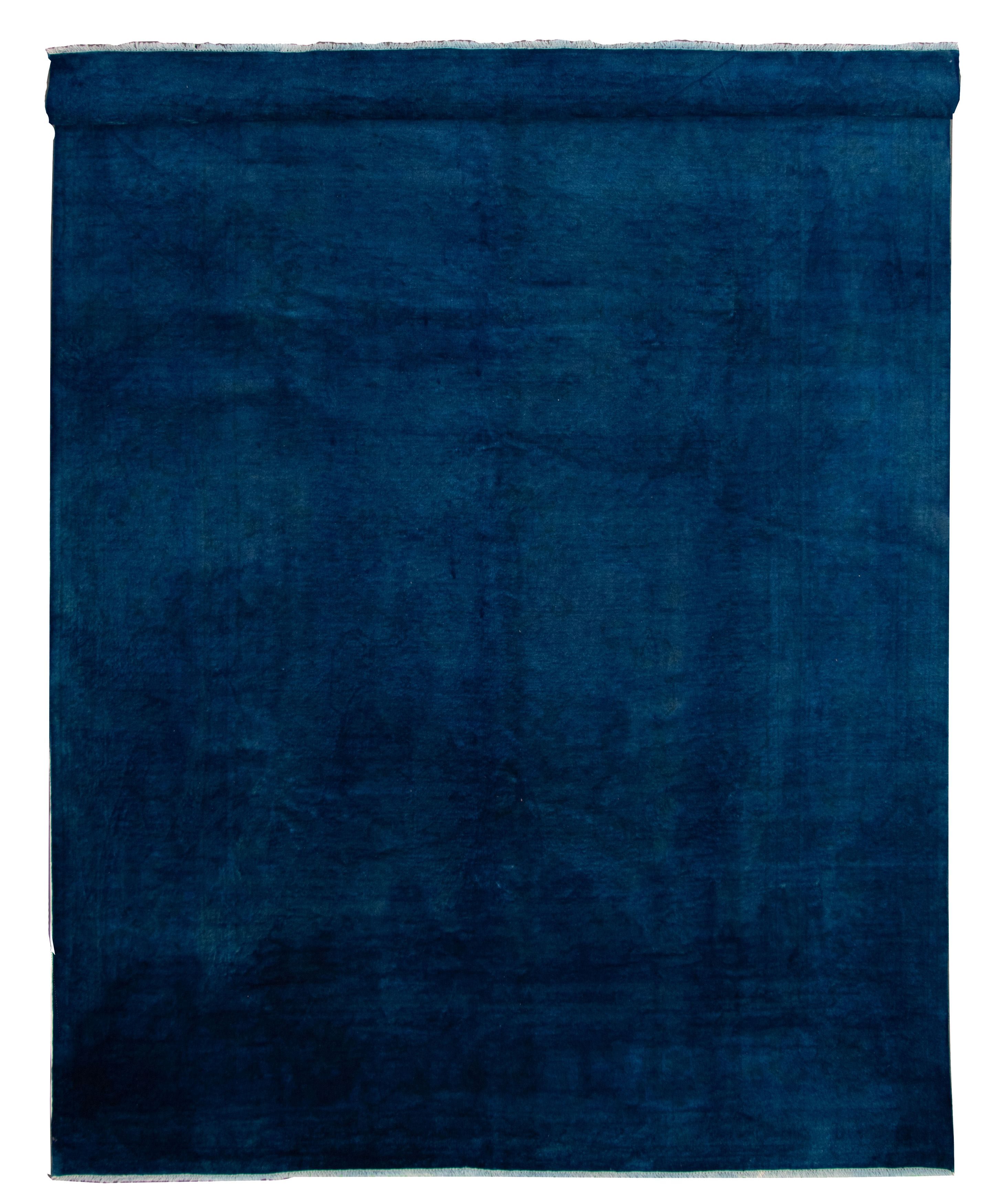 """Hand-knotted Color transition Dark Blue Wool Rug 9'8"""" x 13'9"""" Size: 9'8"""" x 13'9"""""""