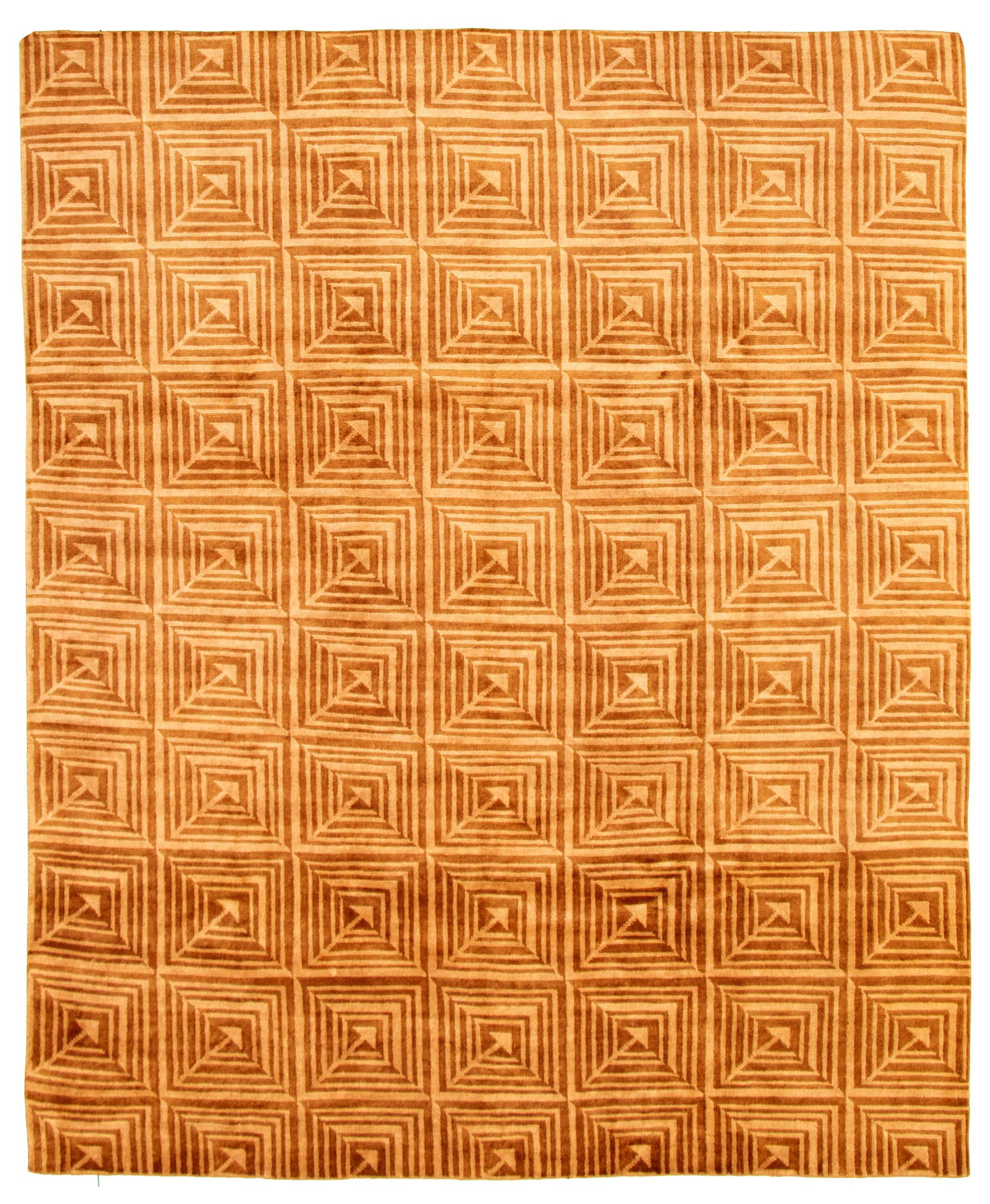 """Hand-knotted Aurora Brown Wool Rug 8'0"""" x 9'8""""  Size: 8'0"""" x 9'8"""""""