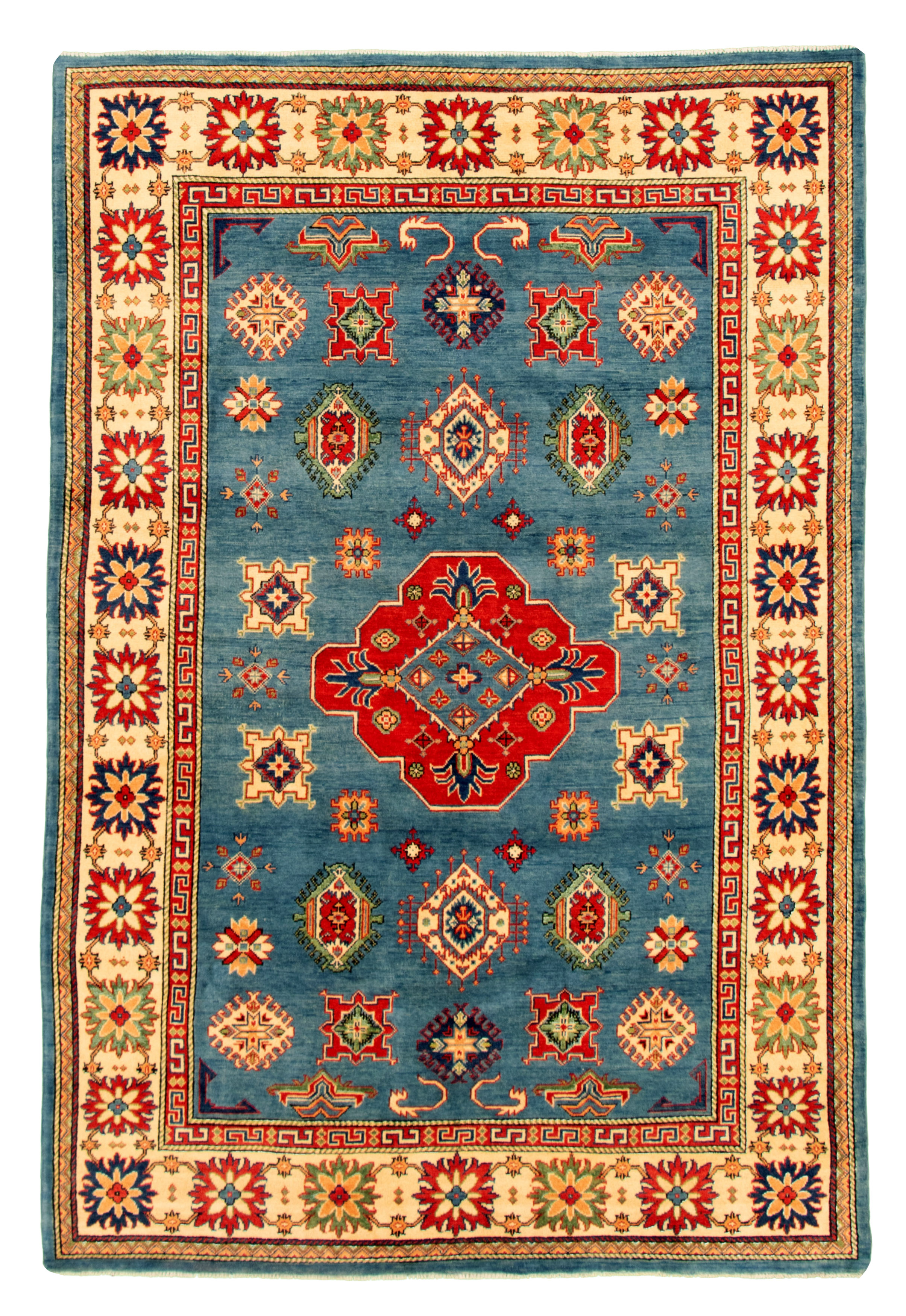 """Hand-knotted Finest Gazni Blue Wool Rug 6'6"""" x 9'7""""  Size: 6'6"""" x 9'7"""""""