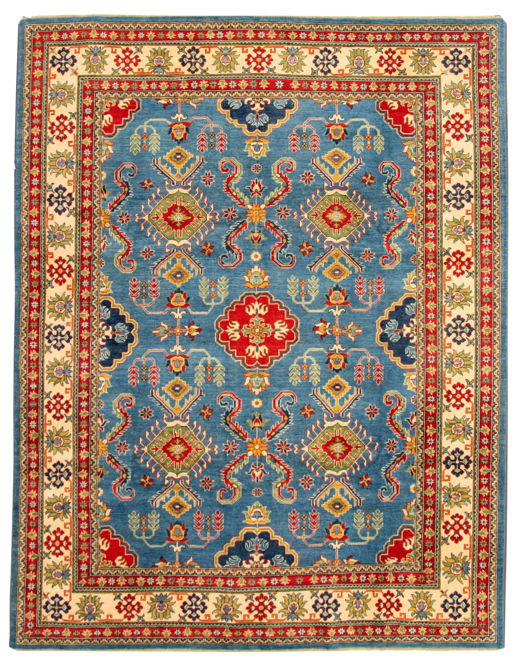 """Hand-knotted Finest Gazni Blue Wool Rug 9'4"""" x 11'9""""  Size: 9'4"""" x 11'9"""""""