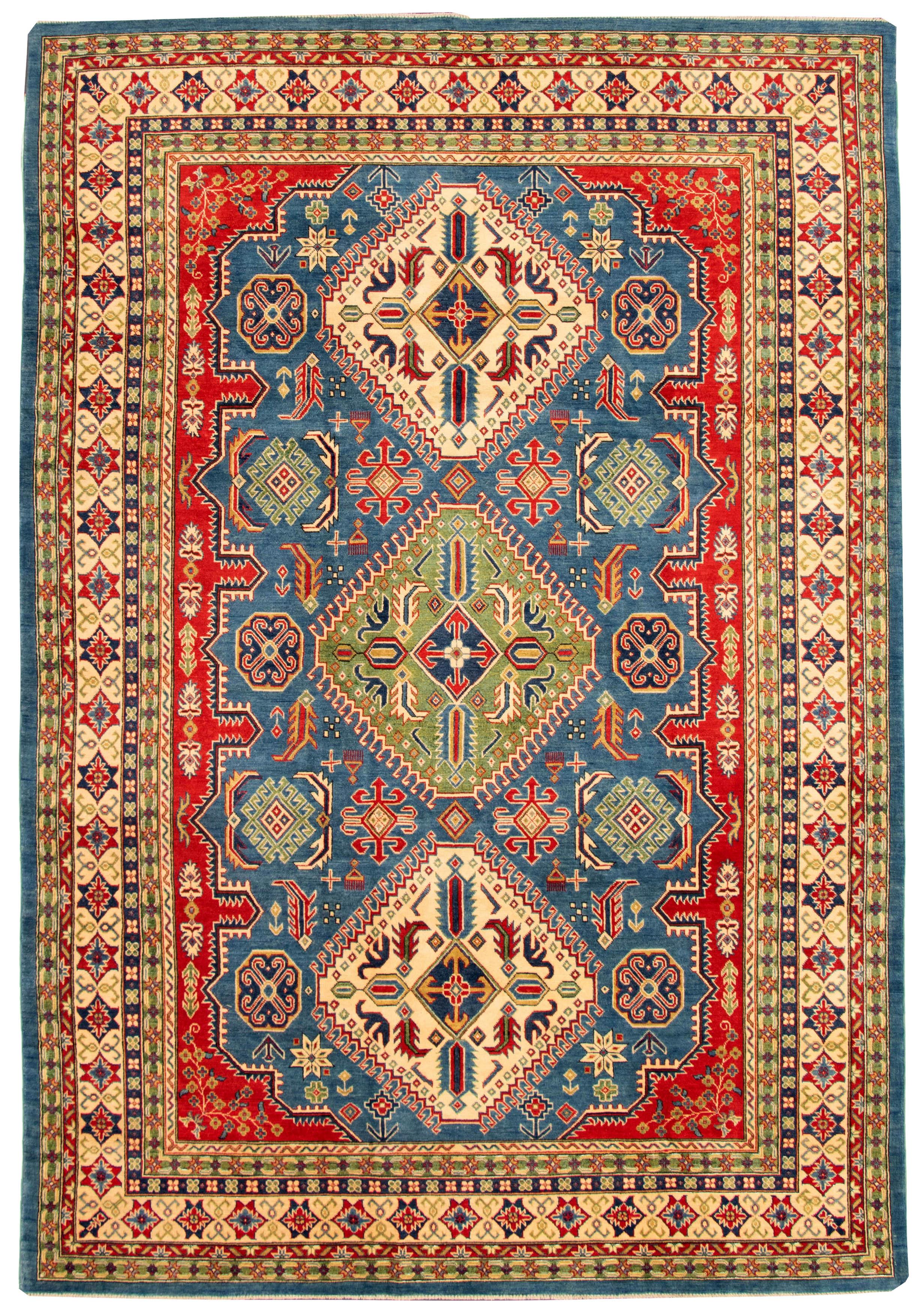 "Hand-knotted Finest Gazni Dark Blue Wool Rug 8'8"" x 12'9"" Size: 8'8"" x 12'9"""