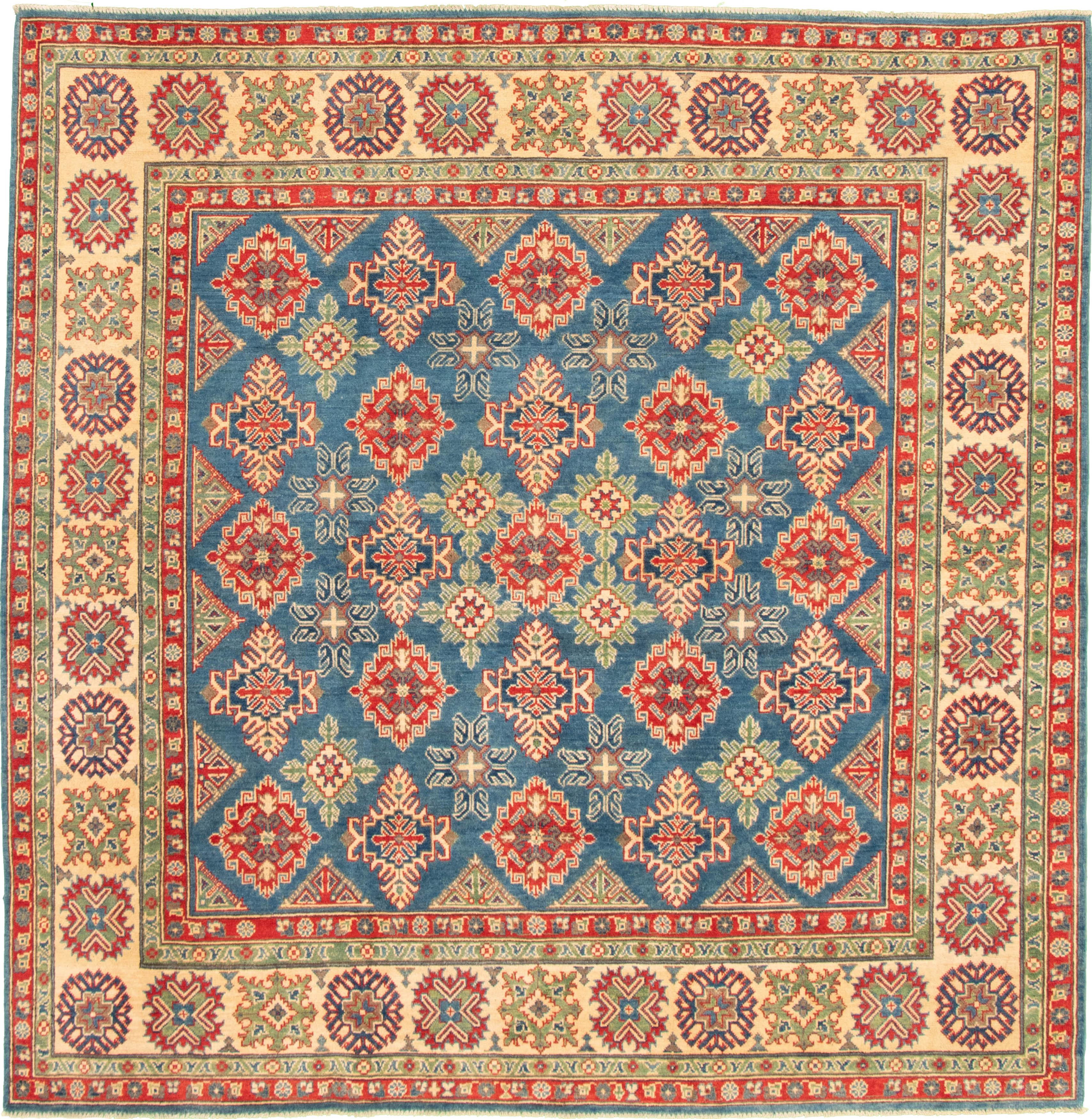 "Hand-knotted Finest Gazni Dark Blue Wool Rug 8'2"" x 8'2"" Size: 8'2"" x 8'2"""