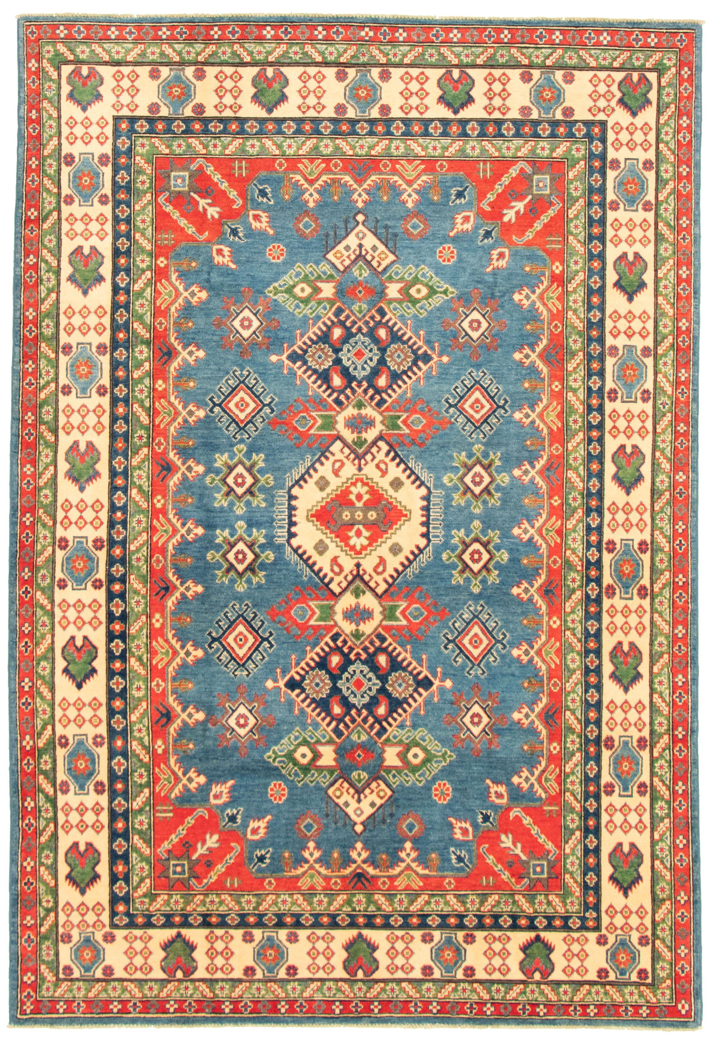 "Hand-knotted Finest Gazni Dark Blue Wool Rug 6'7"" x 9'9"" Size: 6'7"" x 9'9"""