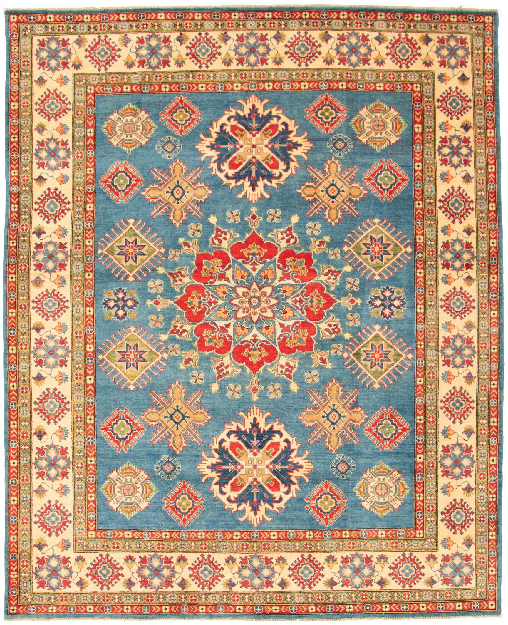 "Hand-knotted Finest Gazni Dark Blue Wool Rug 8'0"" x 10'3"" Size: 8'0"" x 10'3"""