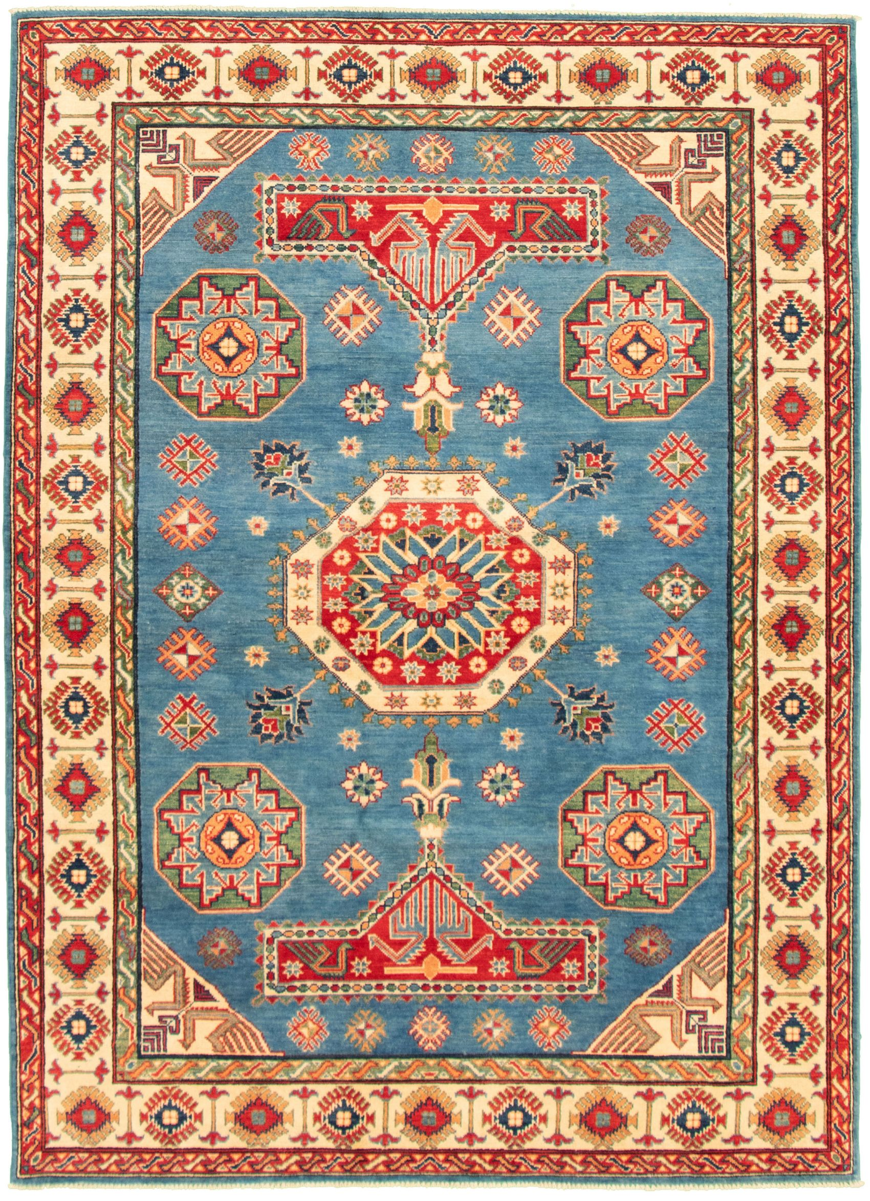 """Hand-knotted Finest Gazni Blue Wool Rug 6'3"""" x 8'11"""" Size: 6'3"""" x 8'11"""""""