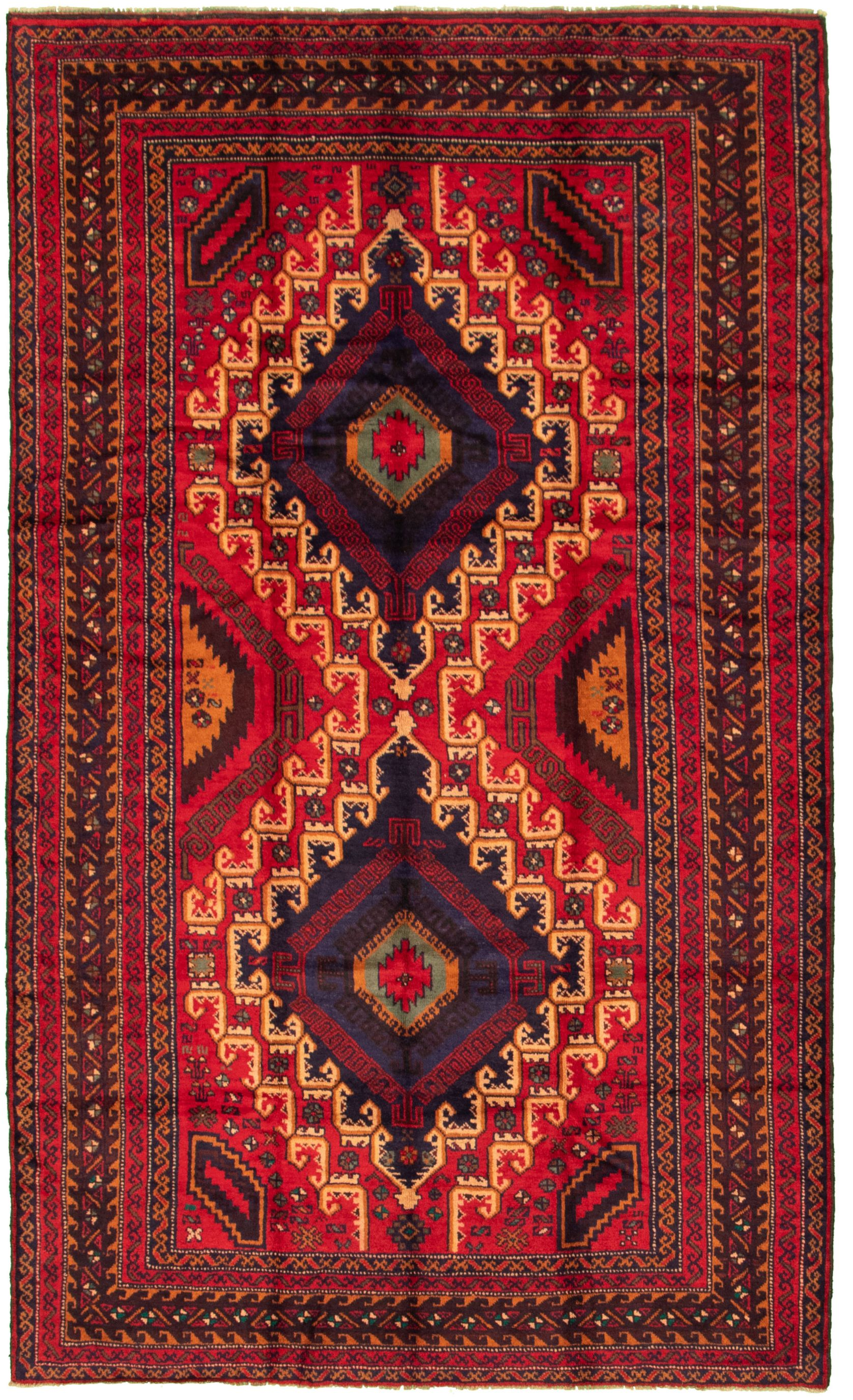 "Hand-knotted Rizbaft Red Wool Rug 5'9"" x 9'3""  Size: 5'9"" x 9'3"""