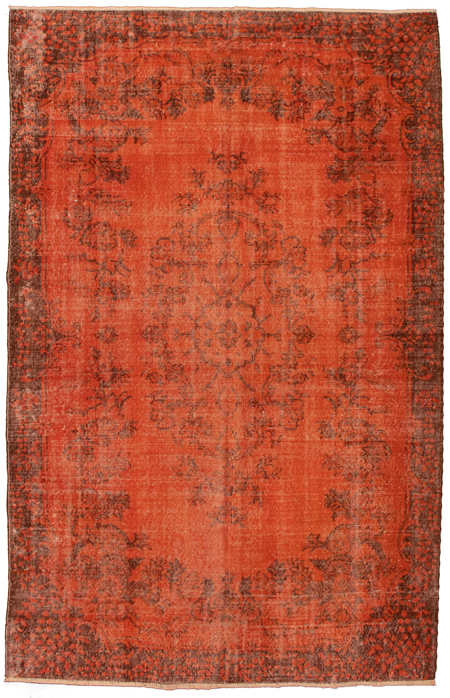 """Hand-knotted Color Transition Burnt Orange Wool Rug 6'8"""" x 10'5"""" Size: 6'8"""" x 10'5"""""""