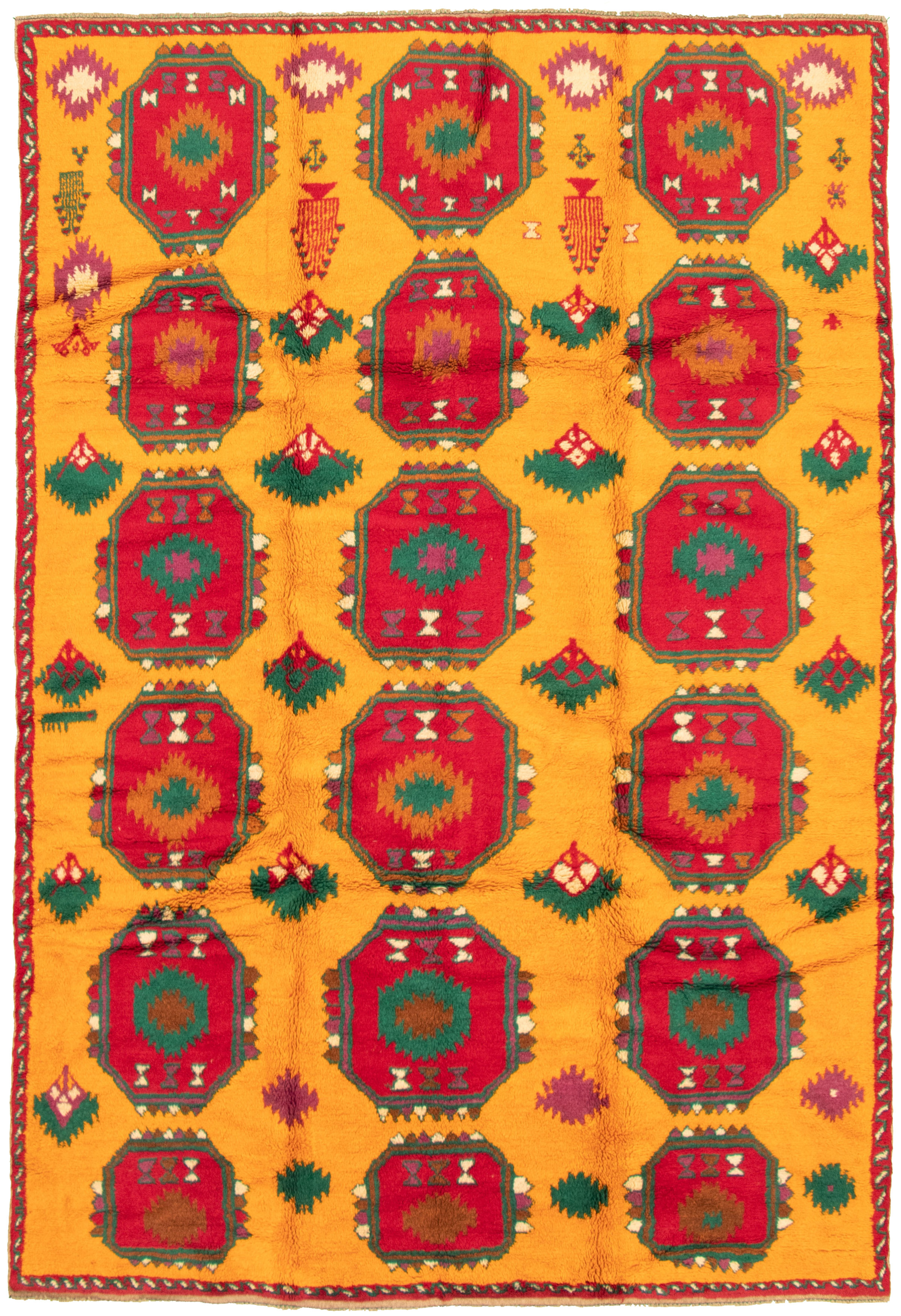 """Hand-knotted Akhjah Orange Wool Rug 6'2"""" x 9'4"""" Size: 6'2"""" x 9'4"""""""