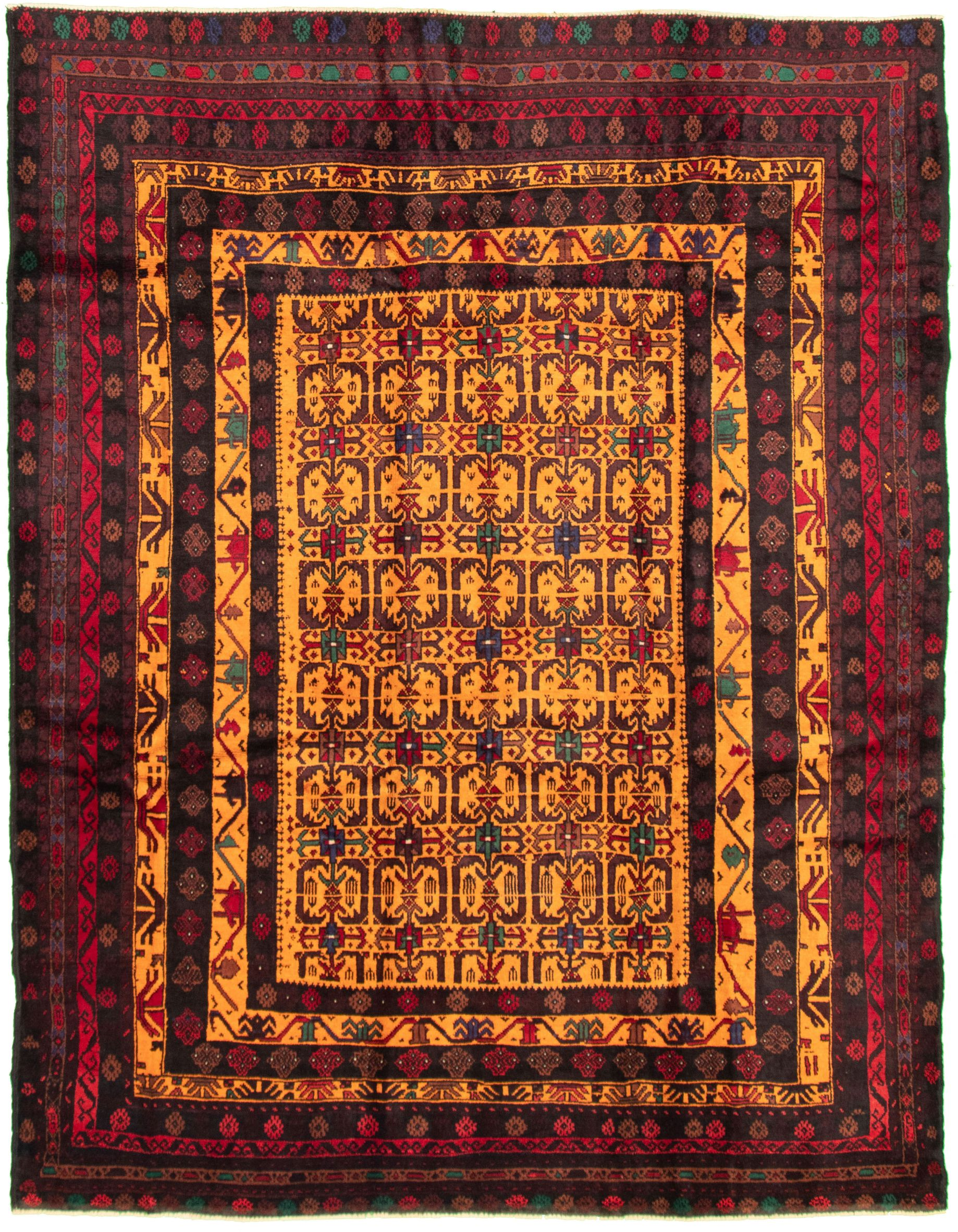 """Hand-knotted Teimani Light Orange, Red Wool Rug 6'11"""" x 8'8"""" Size: 6'11"""" x 8'8"""""""