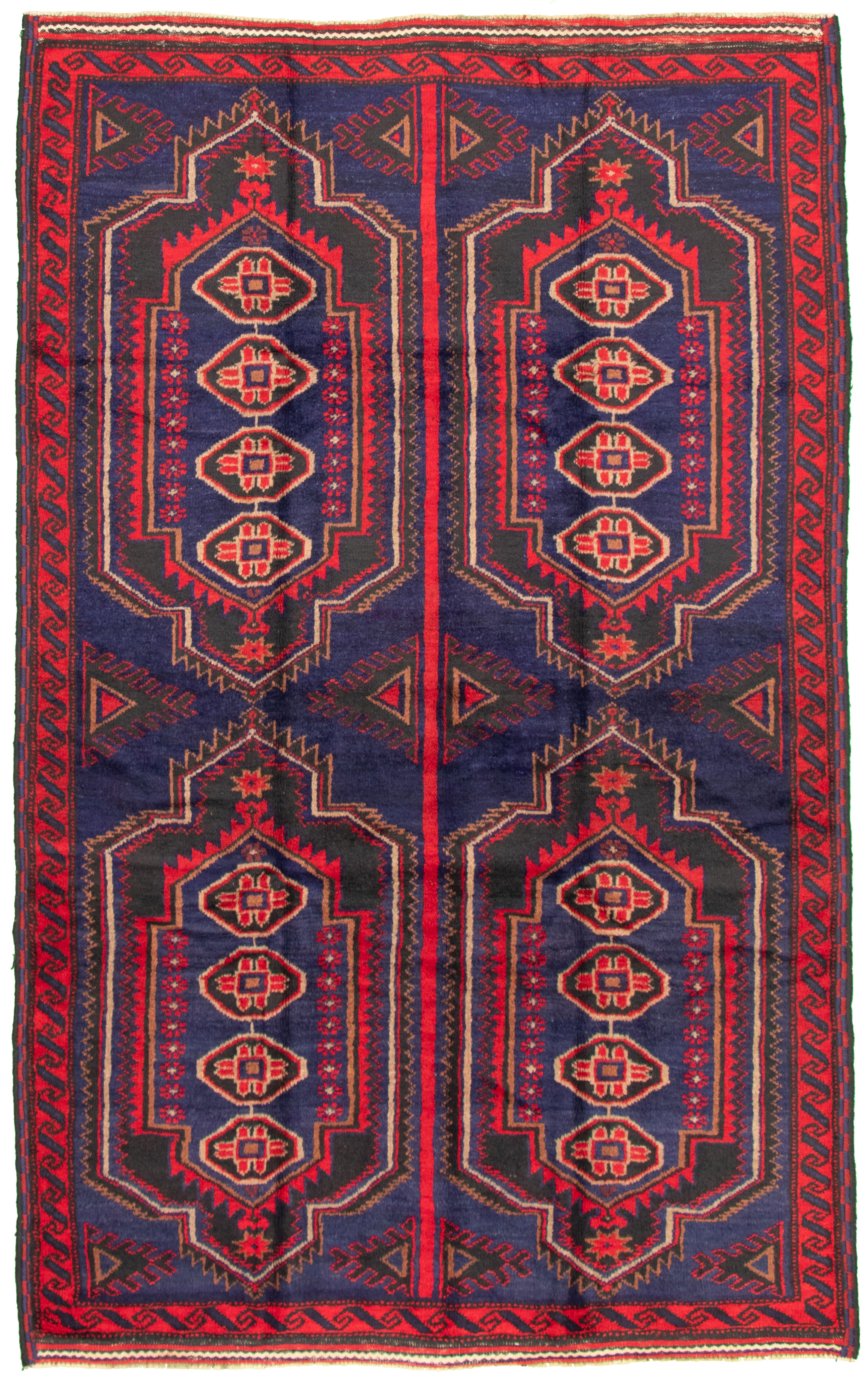 """Hand-knotted Akhjah Navy Blue Wool Rug 5'11"""" x 9'0"""" Size: 5'11"""" x 9'0"""""""